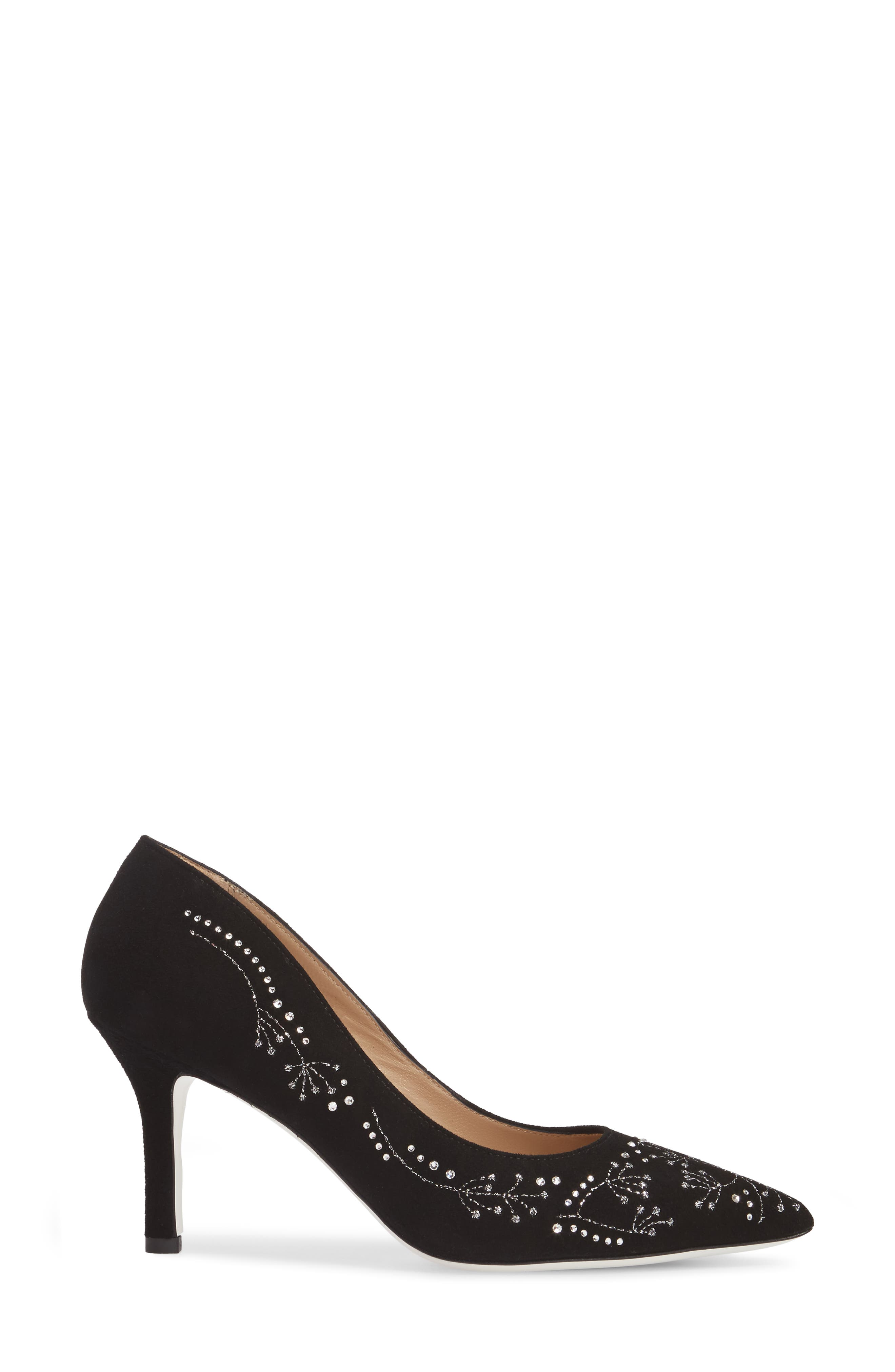 Carla Crystal Embellished Pump,                             Alternate thumbnail 3, color,                             Onyx Suede