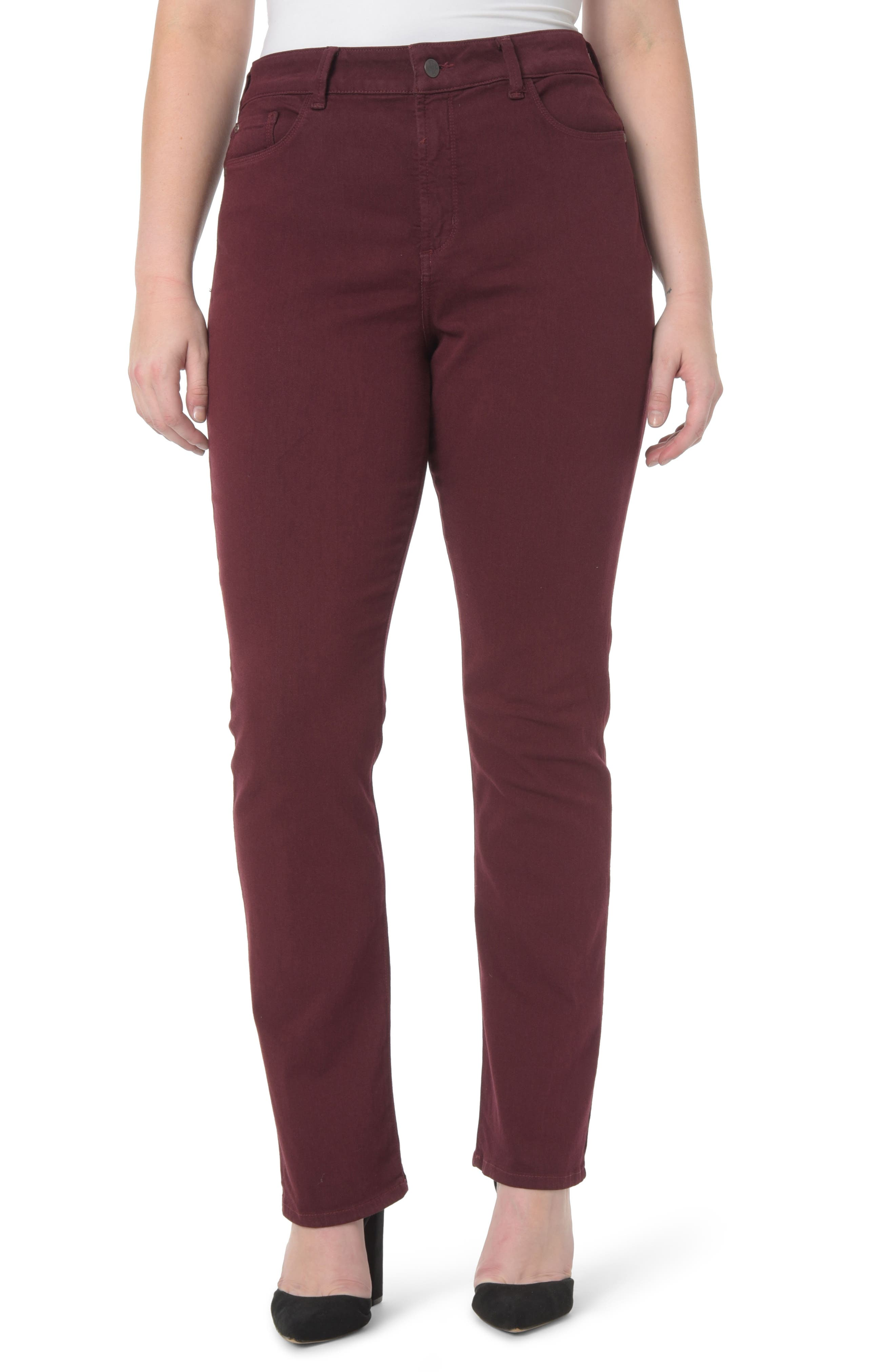 Marilyn Stretch Straight Leg Jeans,                         Main,                         color, Deep Currant