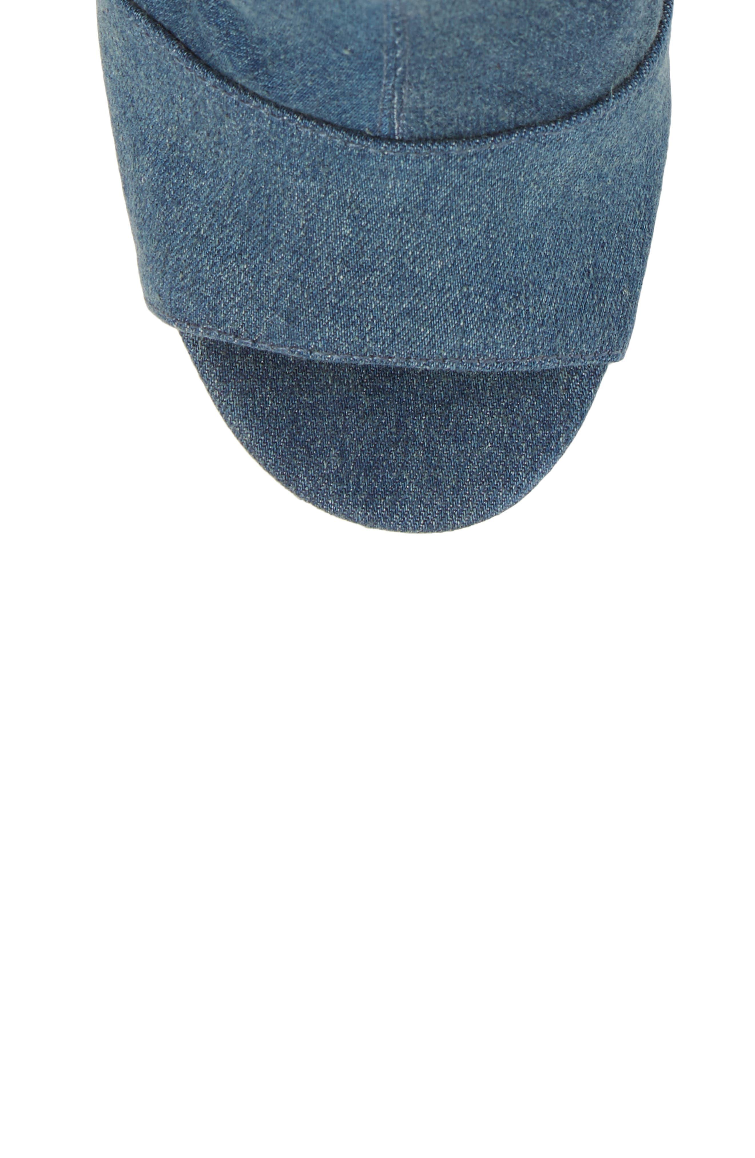 Haimi Sequin Sock Bootie,                             Alternate thumbnail 5, color,                             Denim
