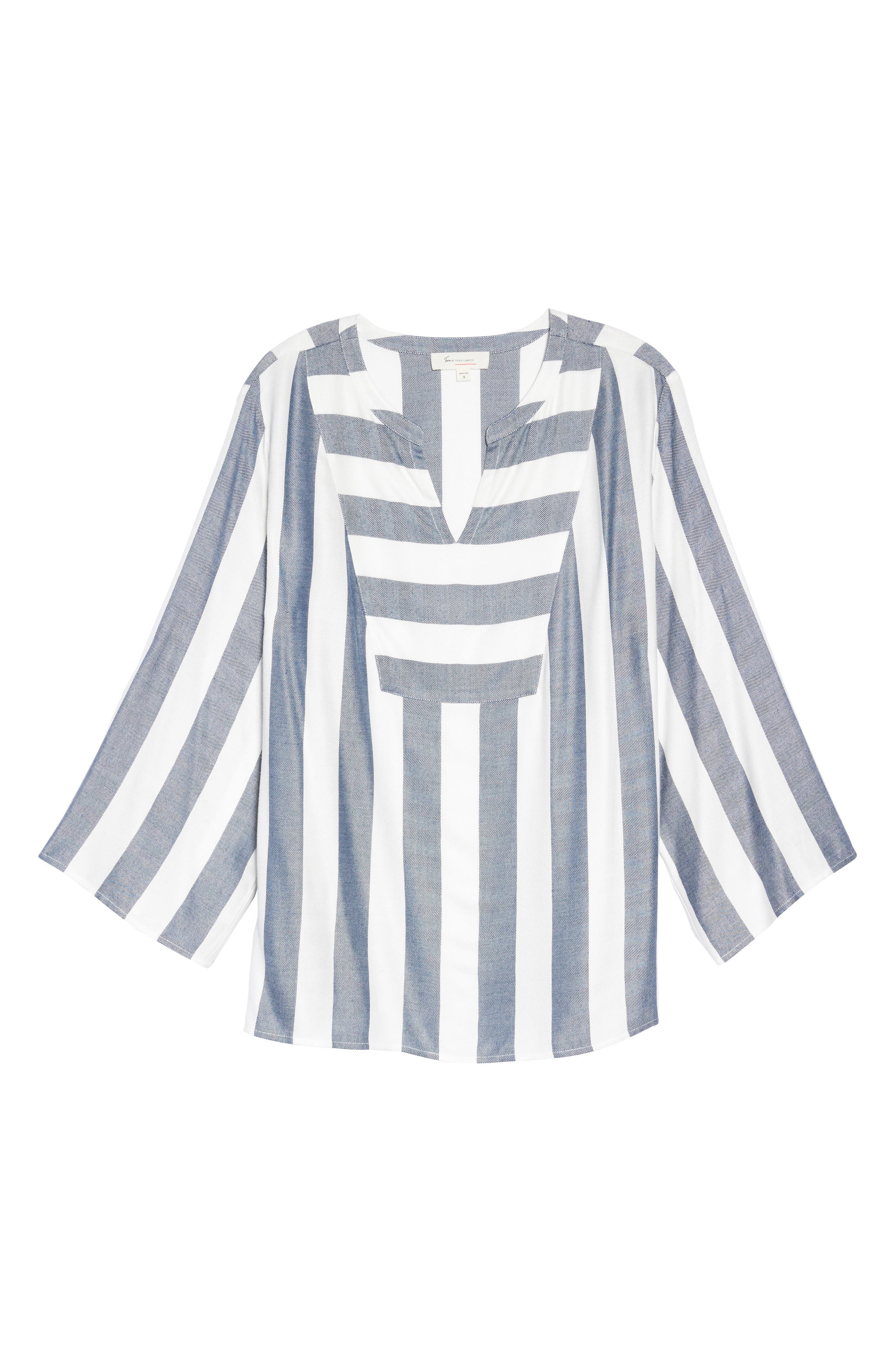 Alternate Image 6  - Two by Vince Camuto Bell Sleeve Stripe Top (Plus Size)