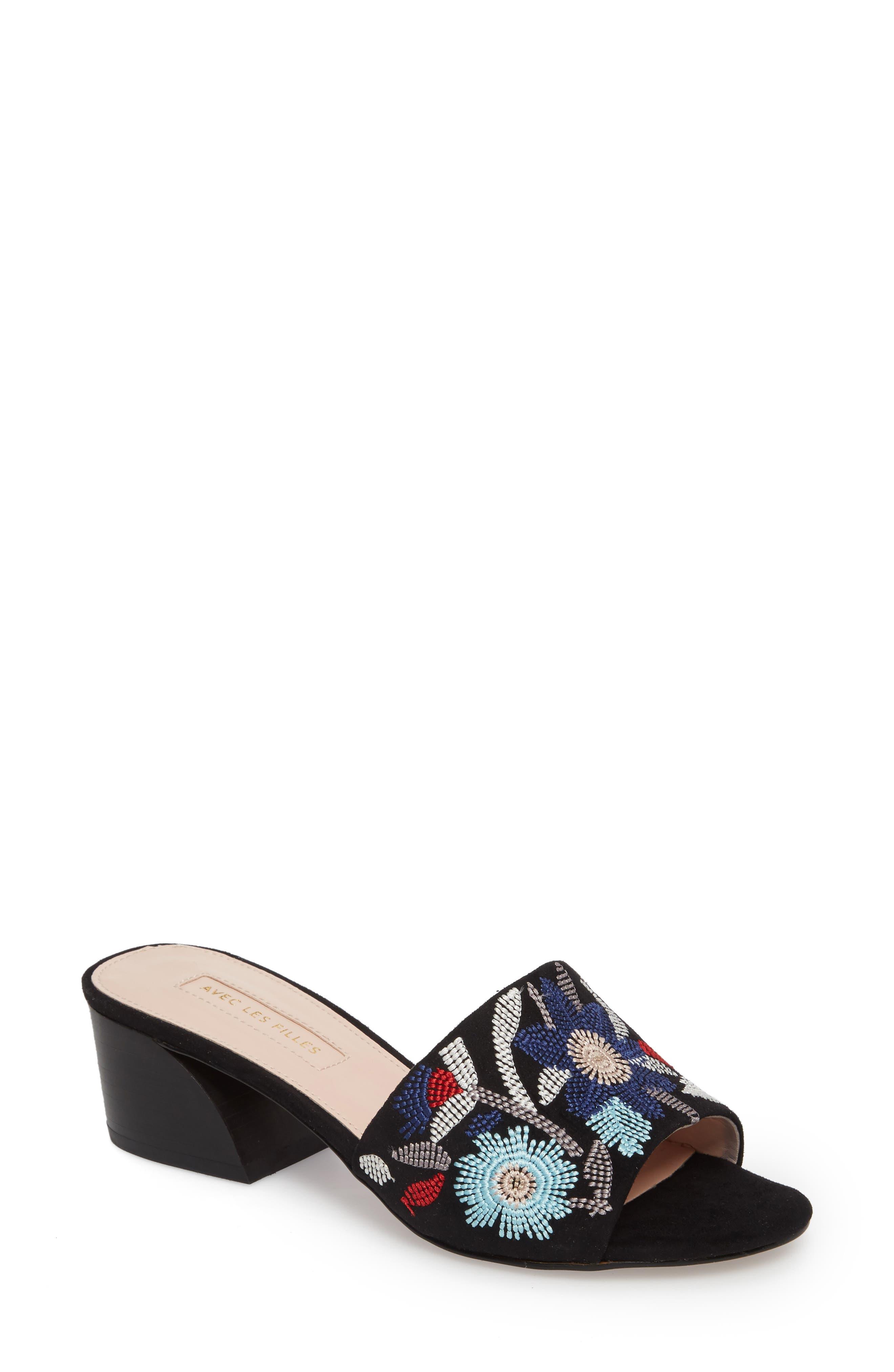 Sloane Sandal,                             Main thumbnail 1, color,                             Black Multi Fabric