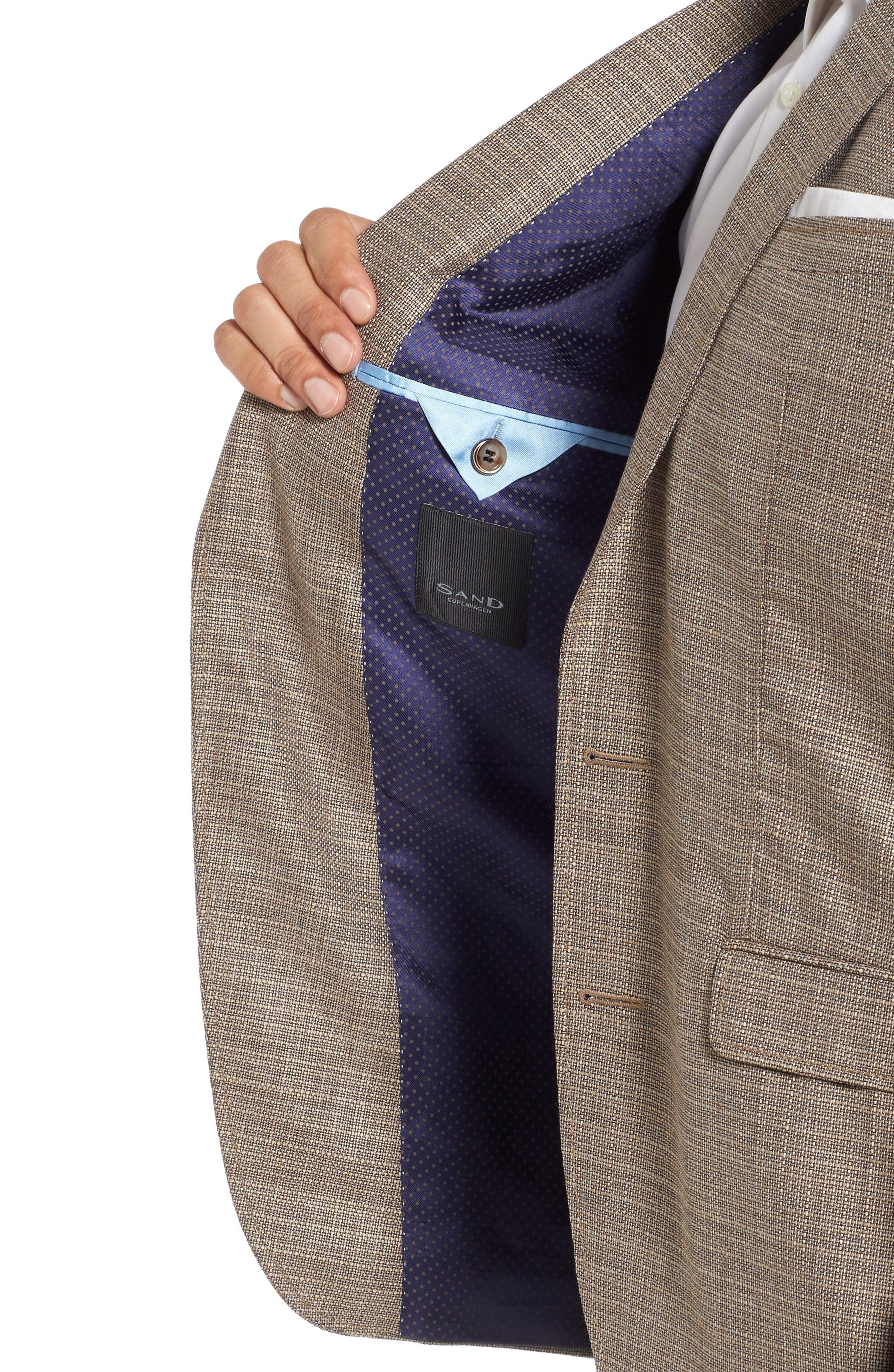 Trim Fit Wool Blazer,                             Alternate thumbnail 4, color,                             Khaki