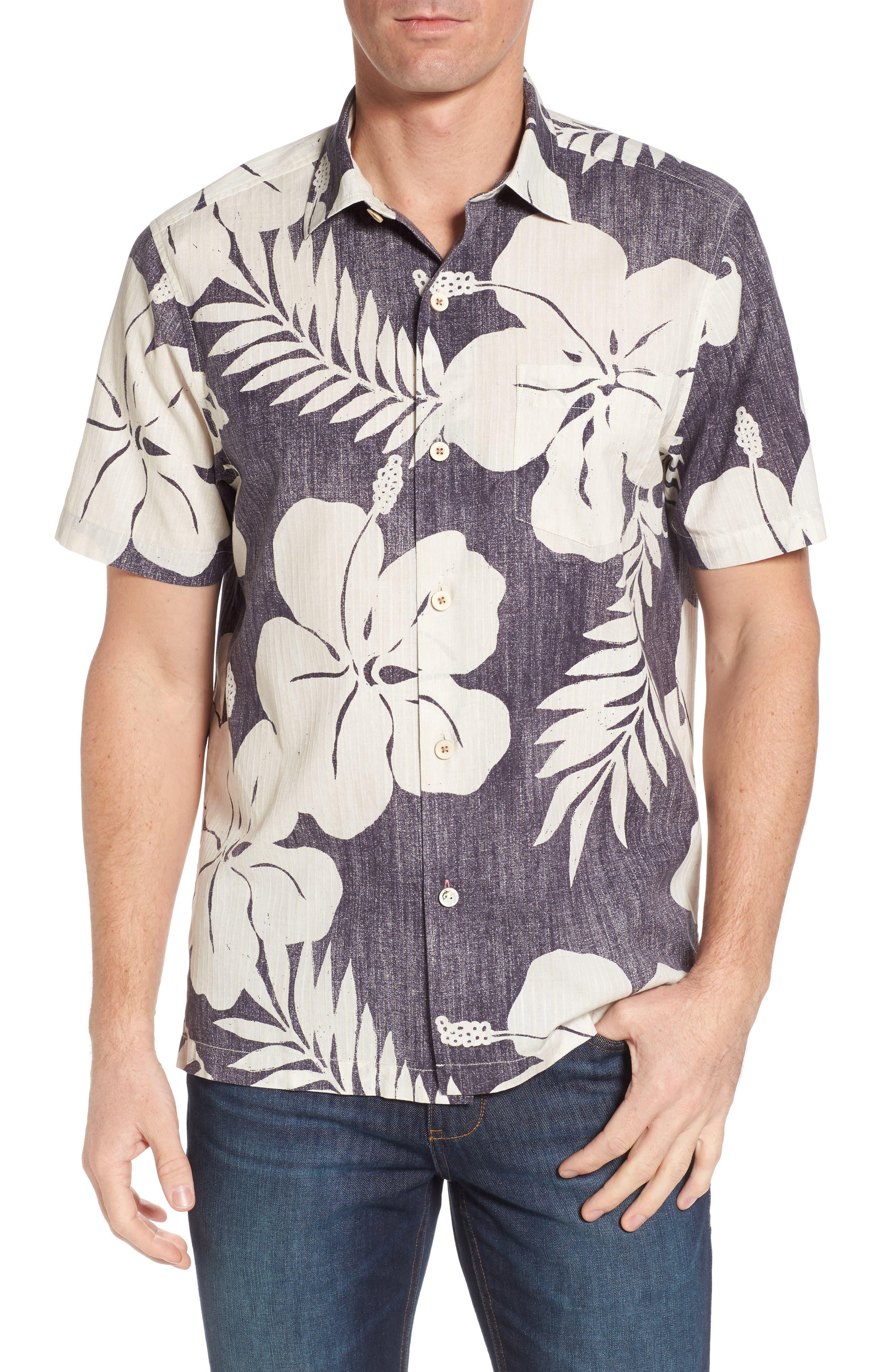 Hialeah Hibiscus Camp Shirt,                         Main,                         color, Steel Wool