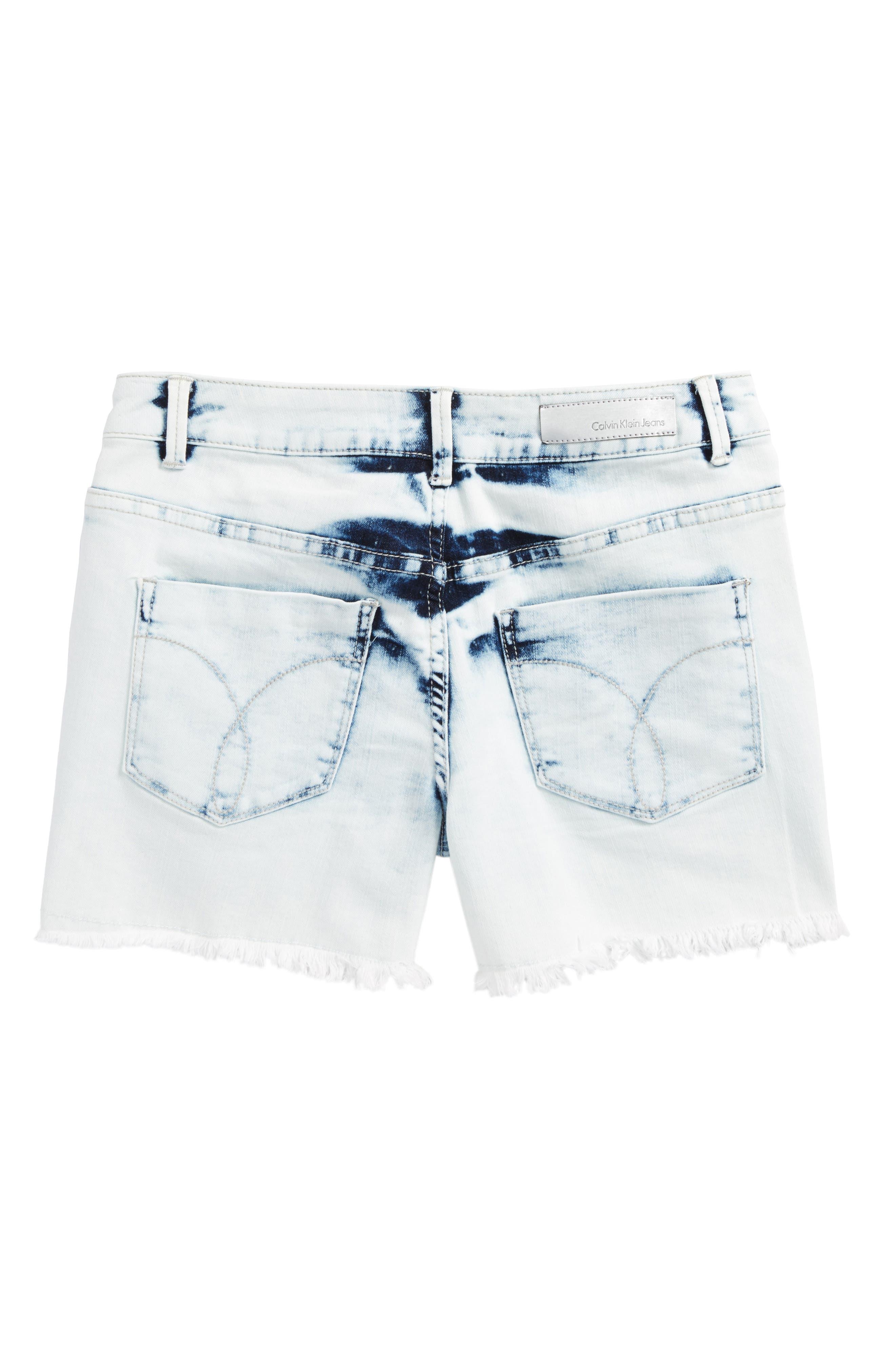 Alternate Image 2  - Calvin Klein Extreme Destroy Denim Shorts (Big Girls)