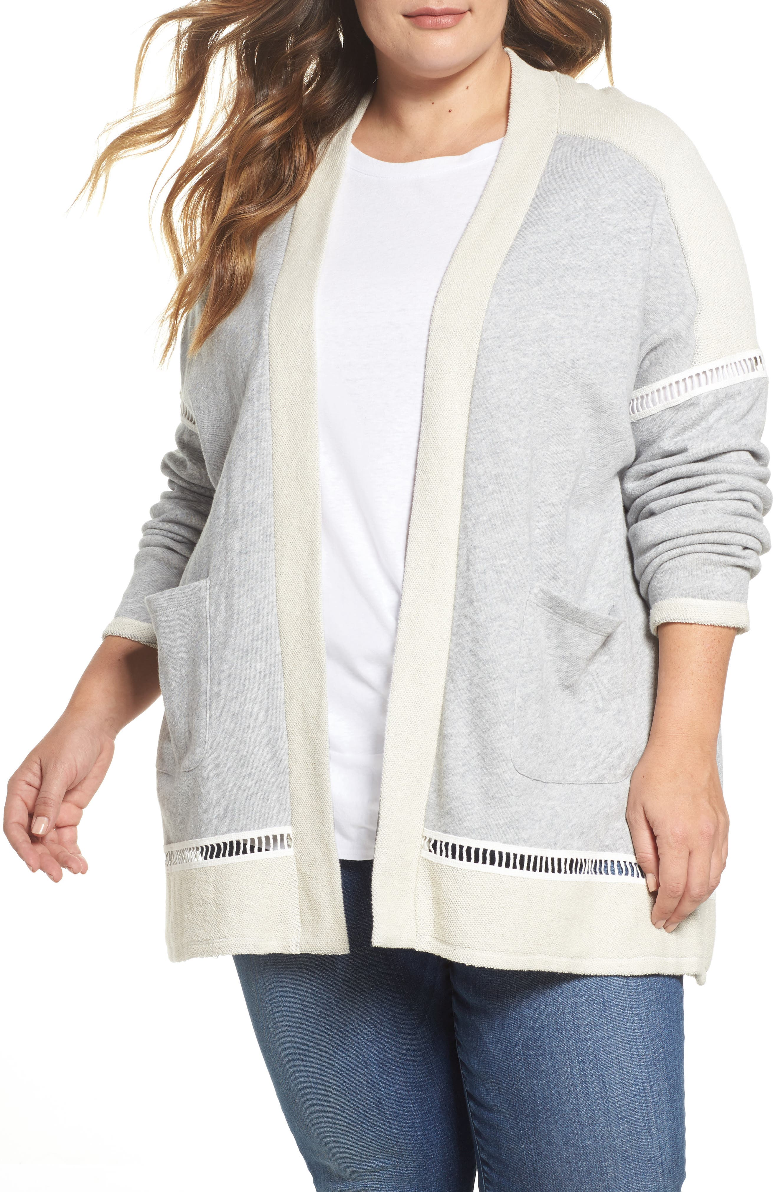 French Terry Cardigan,                         Main,                         color, Grey Heather