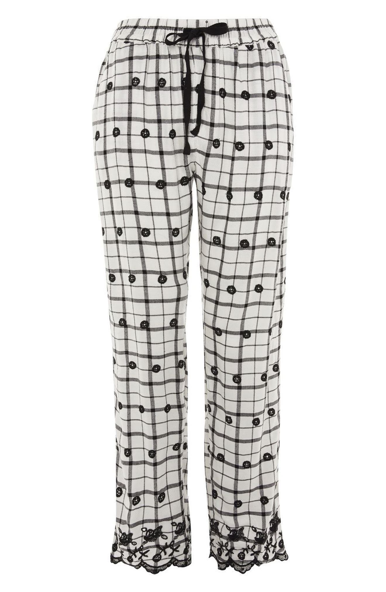 Embroidered Pajama Pants,                             Alternate thumbnail 4, color,                             White Multi