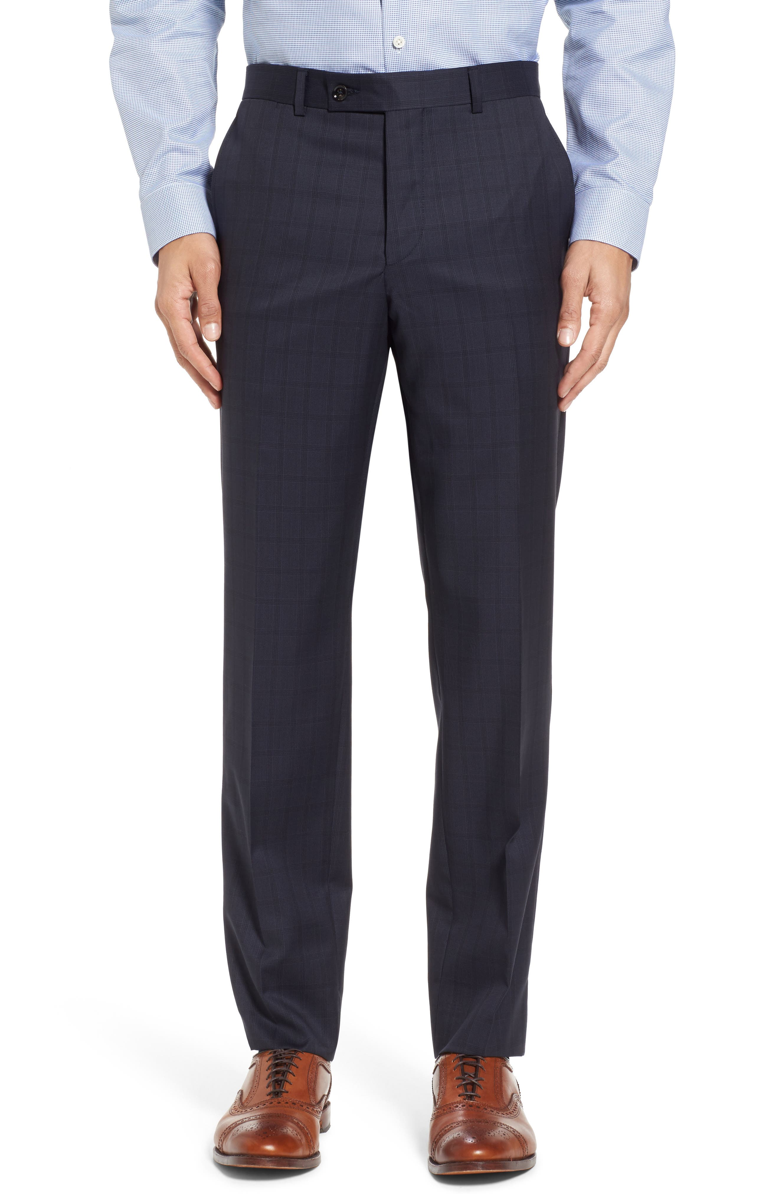 Jay Trim Fit Check Wool Suit,                             Alternate thumbnail 6, color,                             Navy