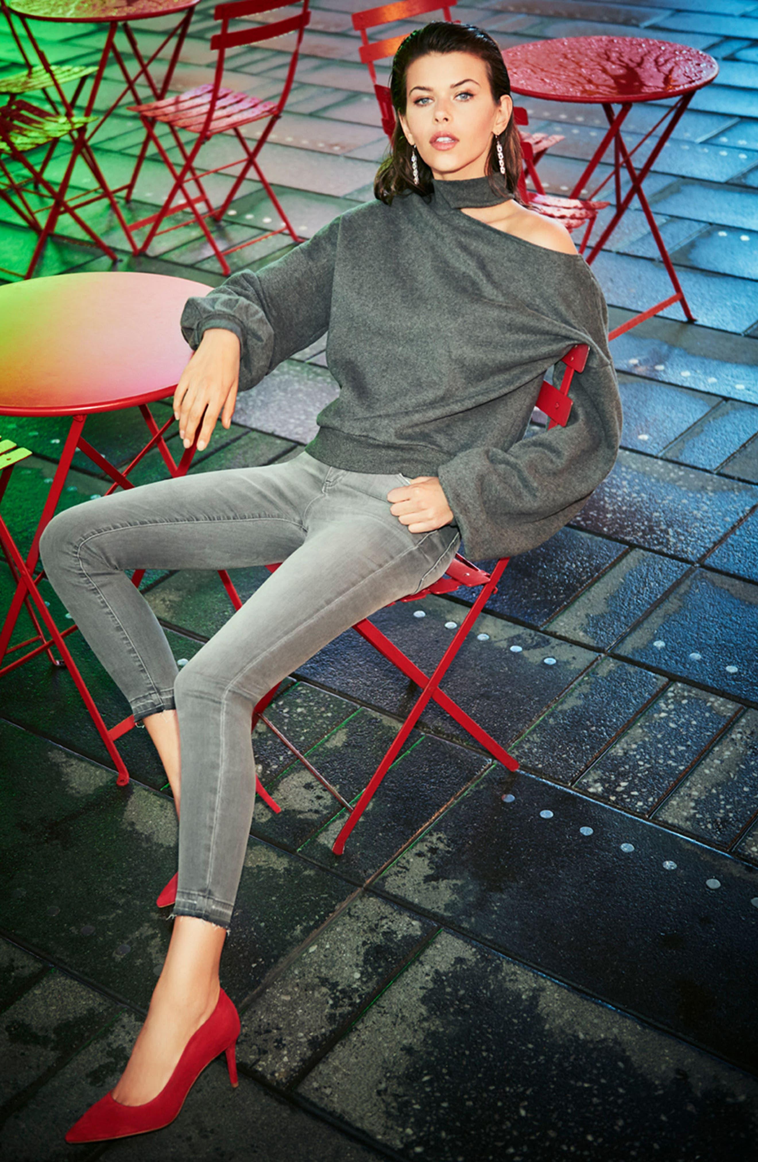 One-Shoulder Pullover,                             Alternate thumbnail 4, color,                             Medium Heather Grey