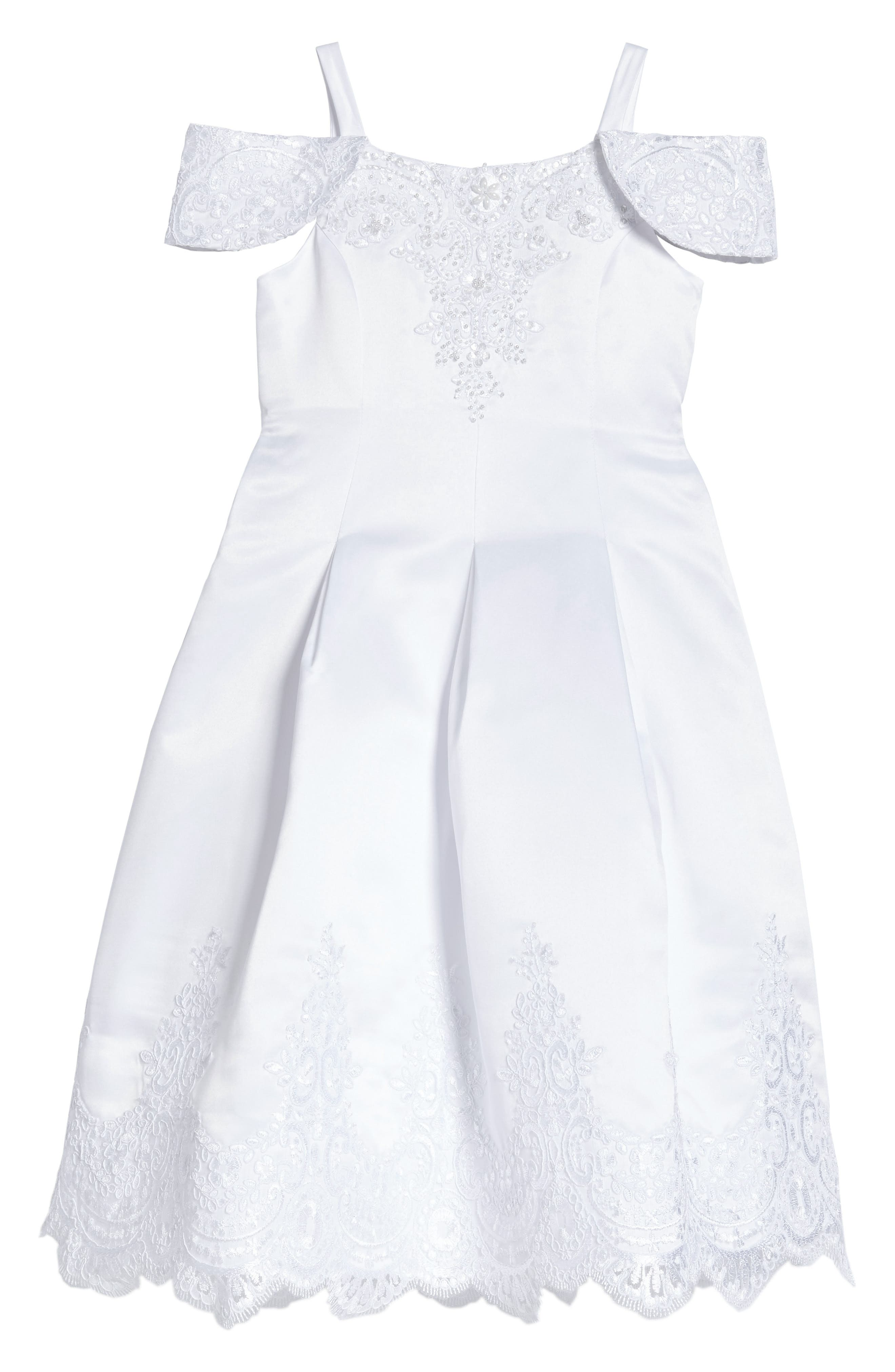 Embroidered Satin Dress,                             Main thumbnail 1, color,                             White