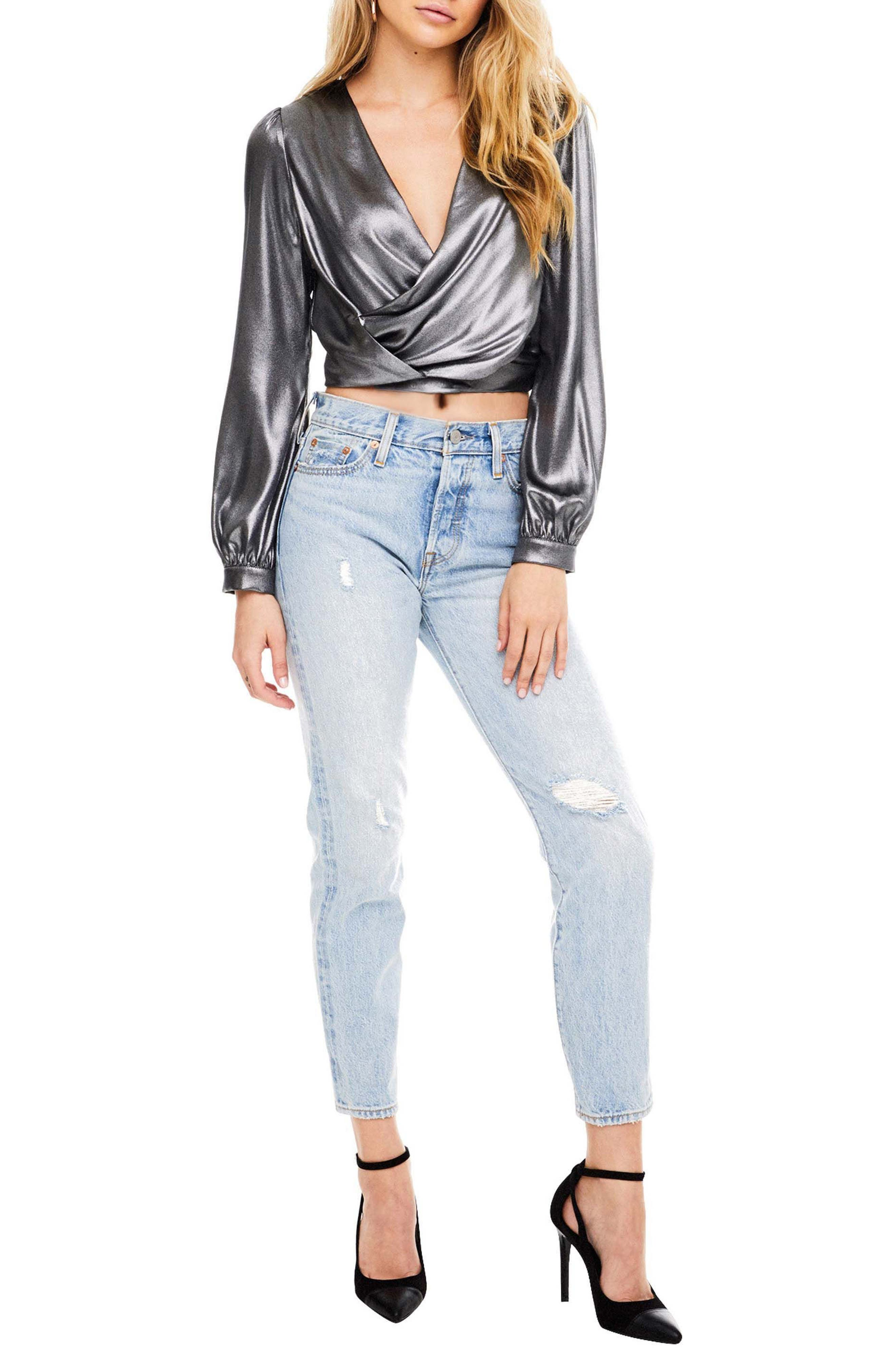 Alternate Image 1 Selected - ASTR the Label Langley Surplice Crop Top