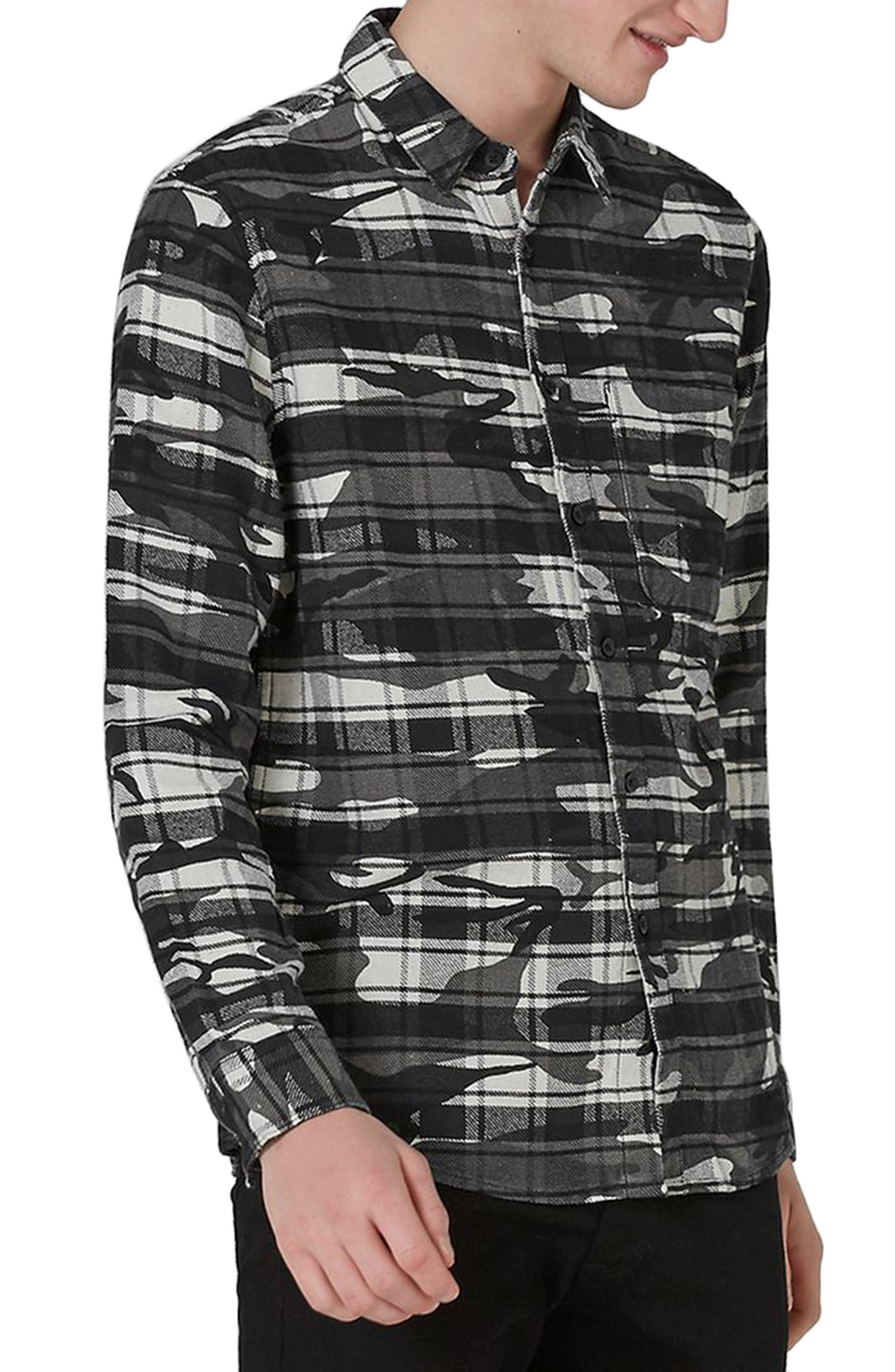 Camo Print Check Shirt,                             Main thumbnail 1, color,                             Dark Grey Multi