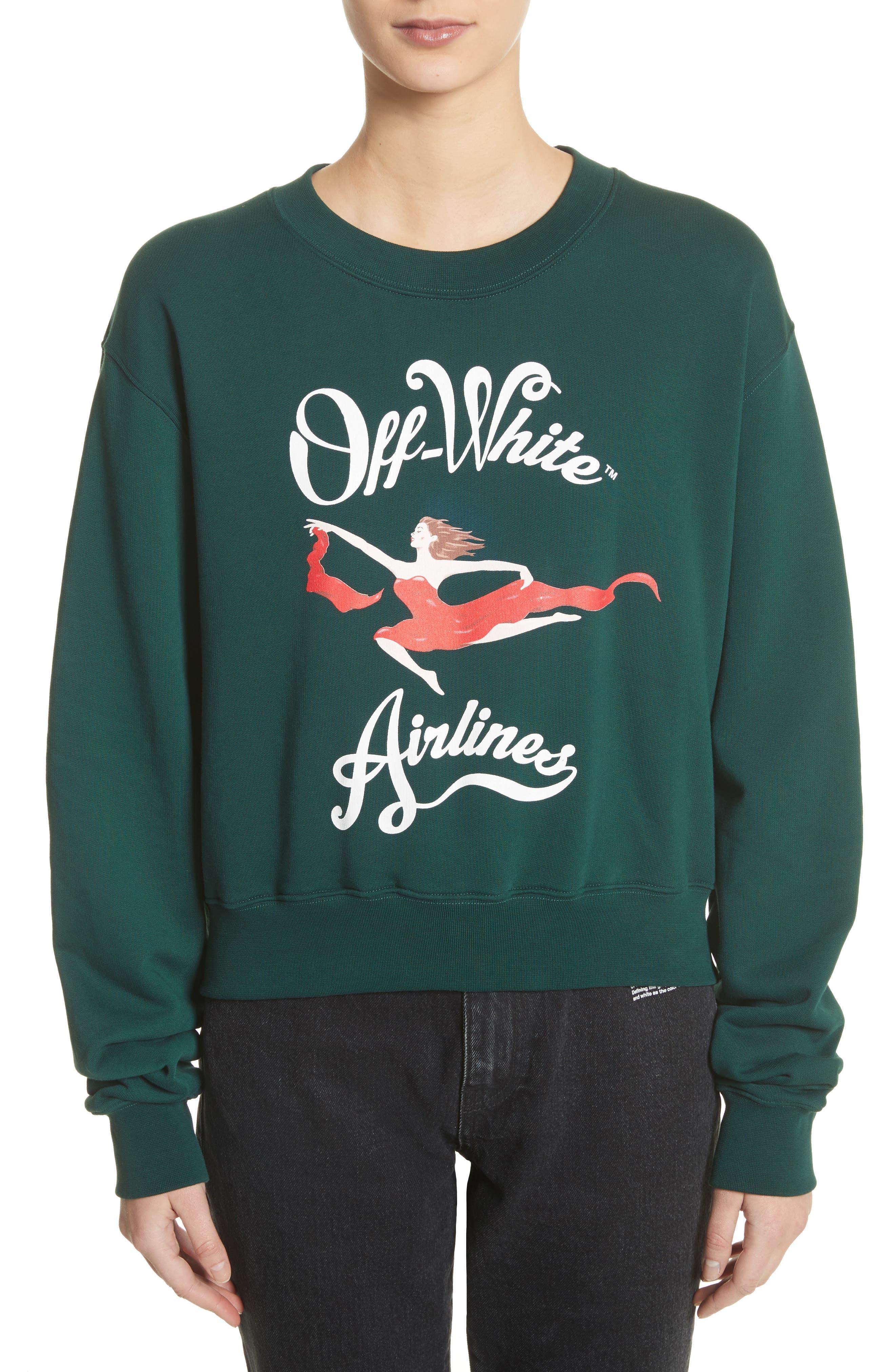 Airlines Crop Crewneck Sweatshirt,                         Main,                         color, Dark Green
