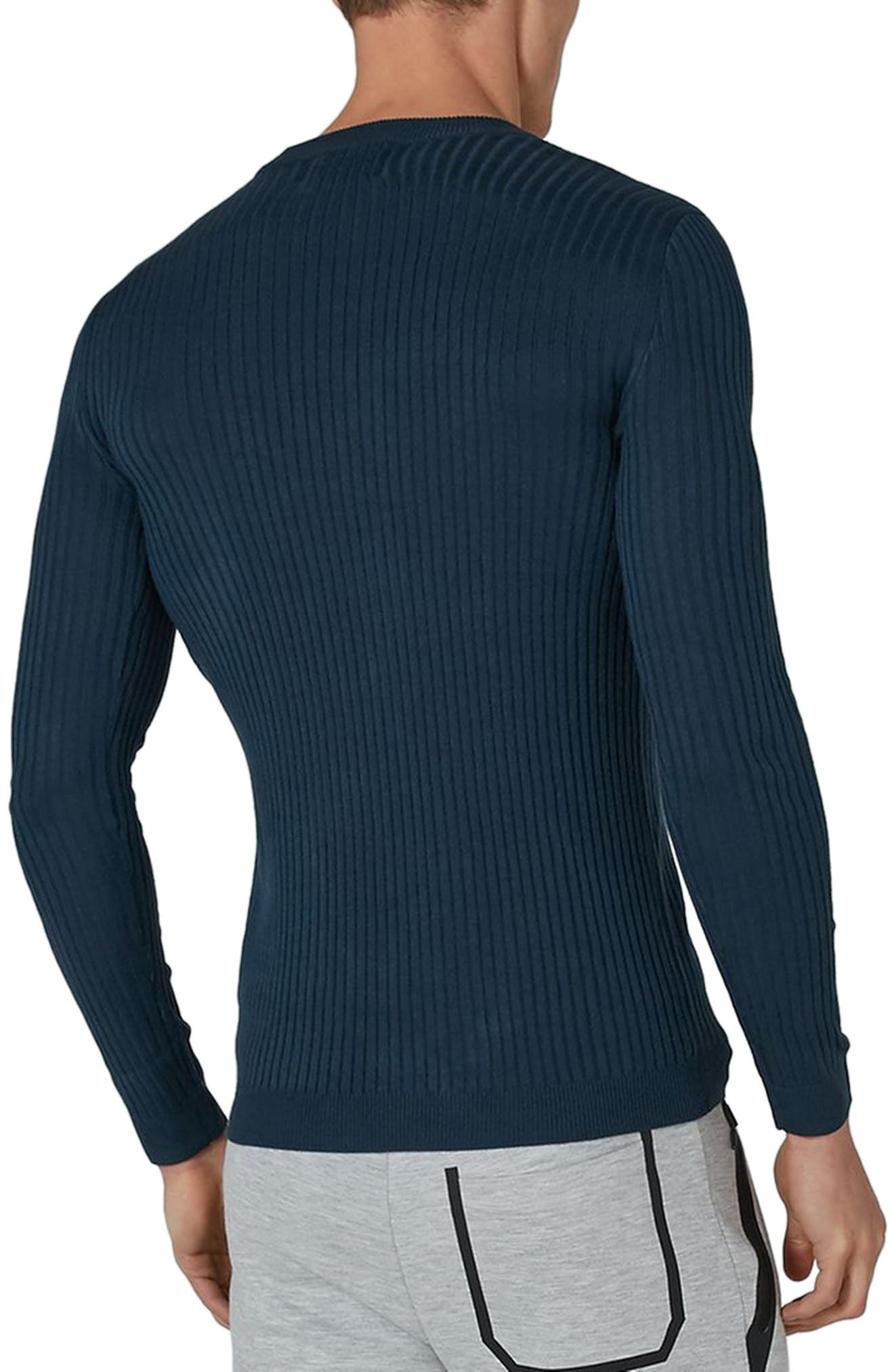 Alternate Image 2  - Topman Ribbed Muscle Fit Sweater