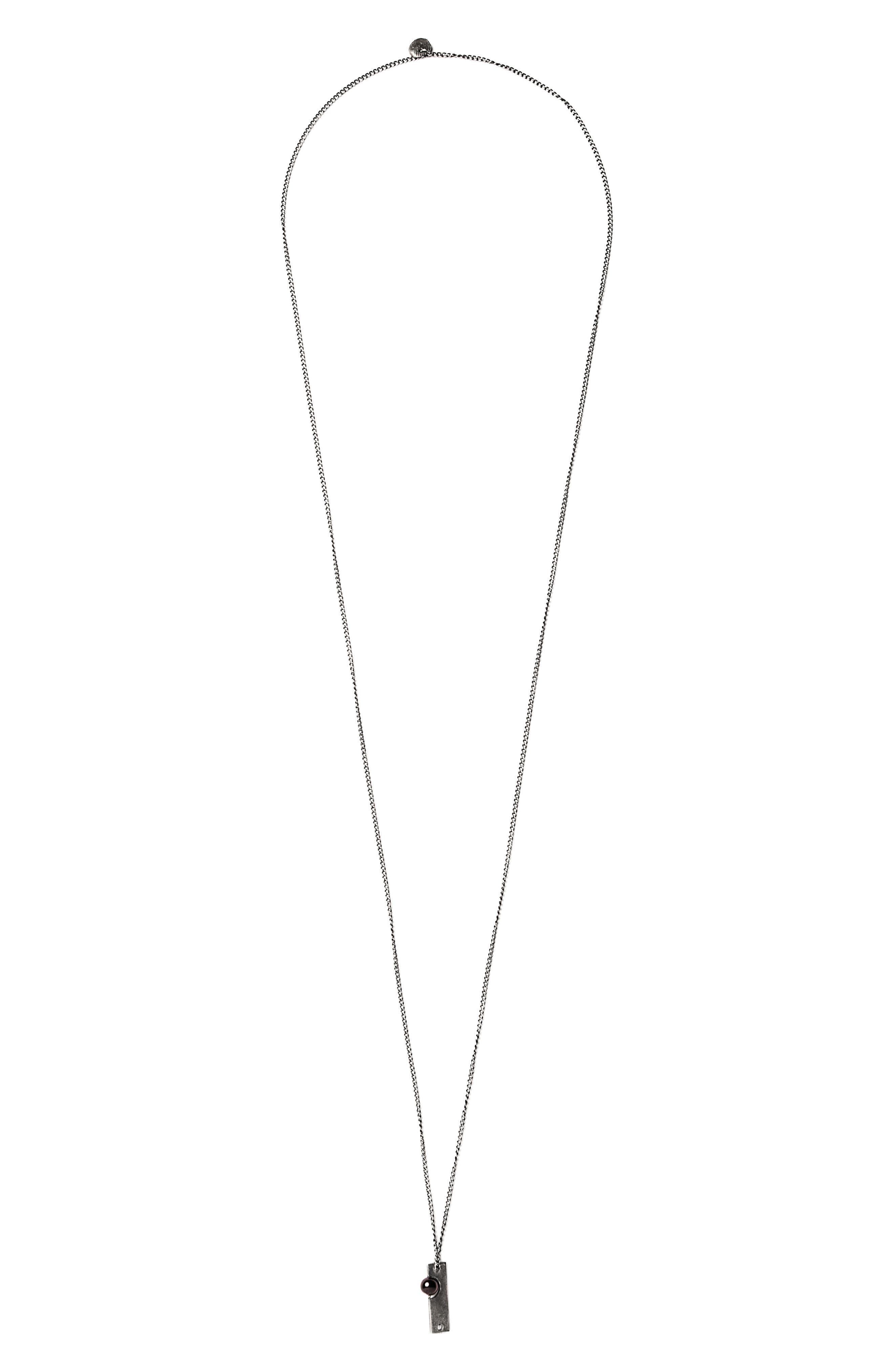 Garnet on Sterling Bar Necklace,                         Main,                         color, Silver