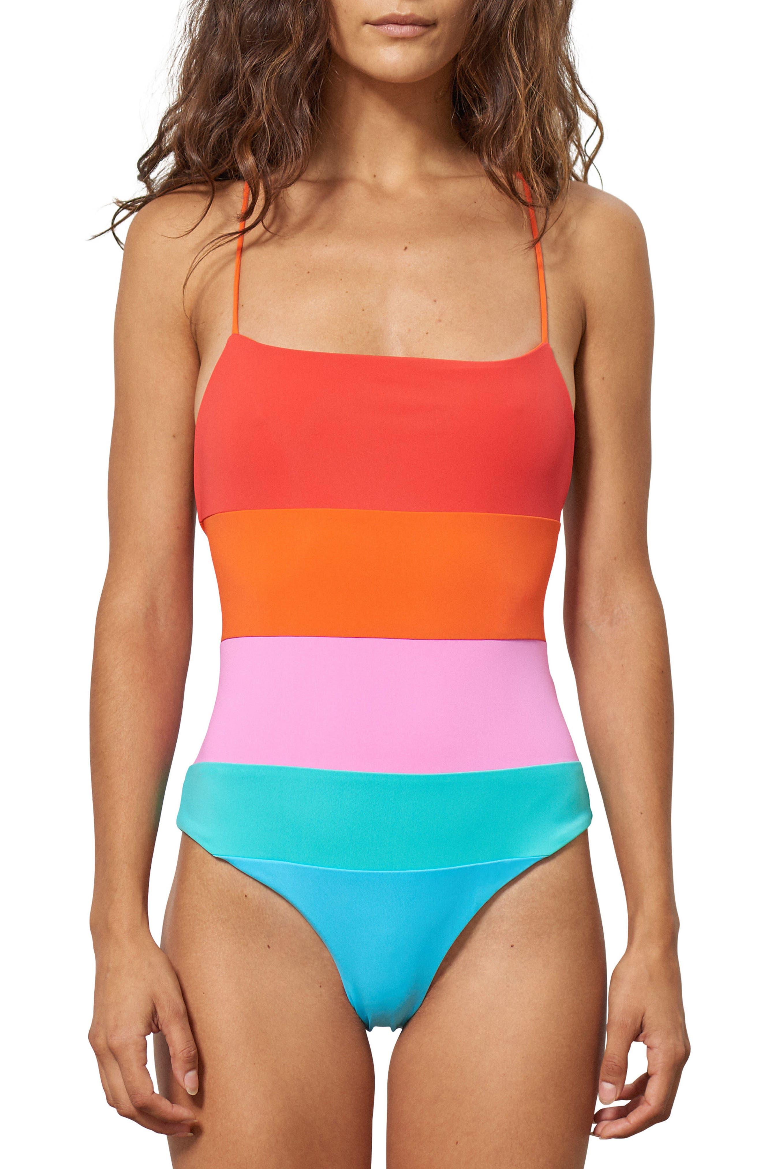 Olympia One-Piece Swimsuit,                         Main,                         color, Orange Multi