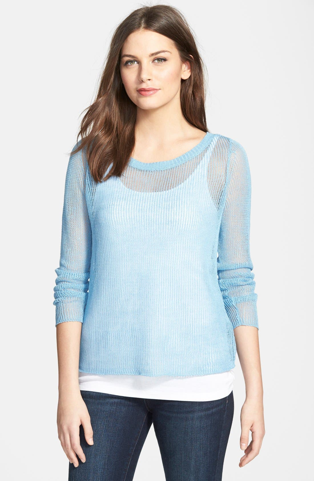 Main Image - Eileen Fisher Linen Bateau Neck Boxy Sweater (Online Only)