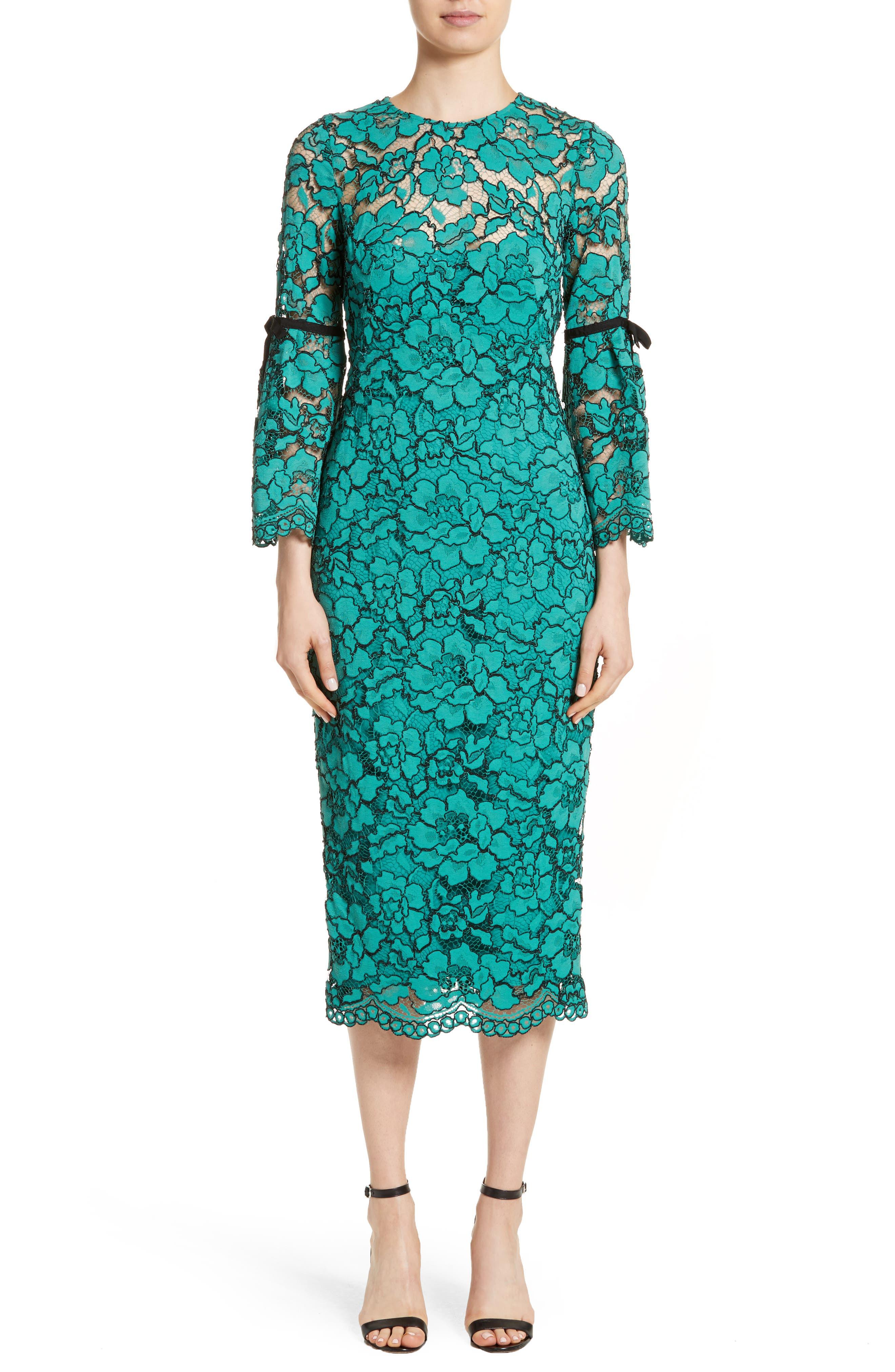 Lace Bell Sleeve Sheath Dress,                         Main,                         color, Jade