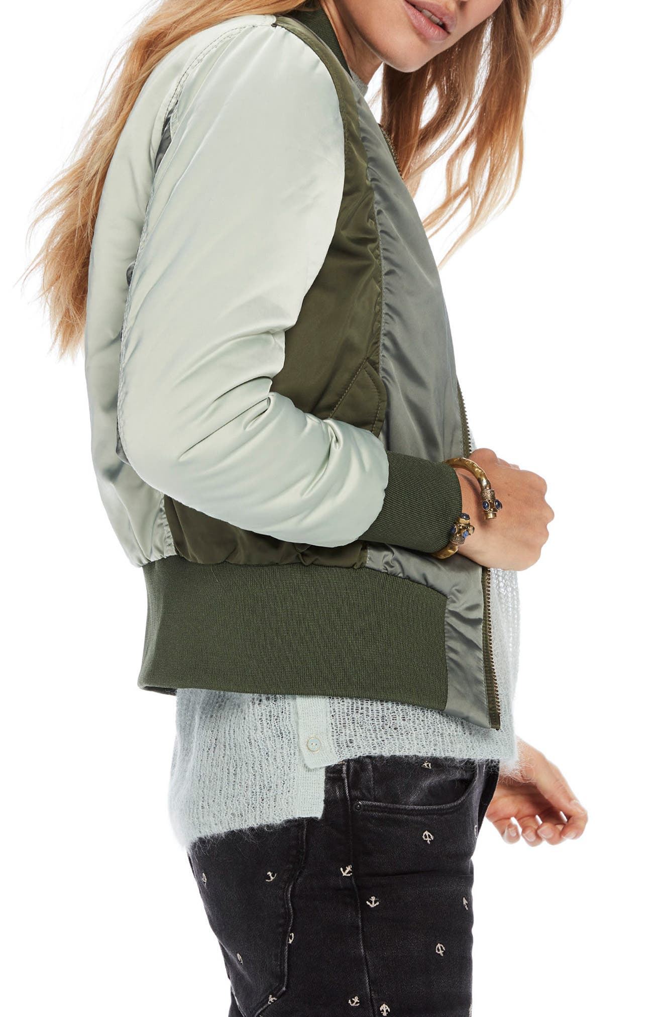 Crop Bomber Jacket,                             Alternate thumbnail 4, color,                             Army / Off White