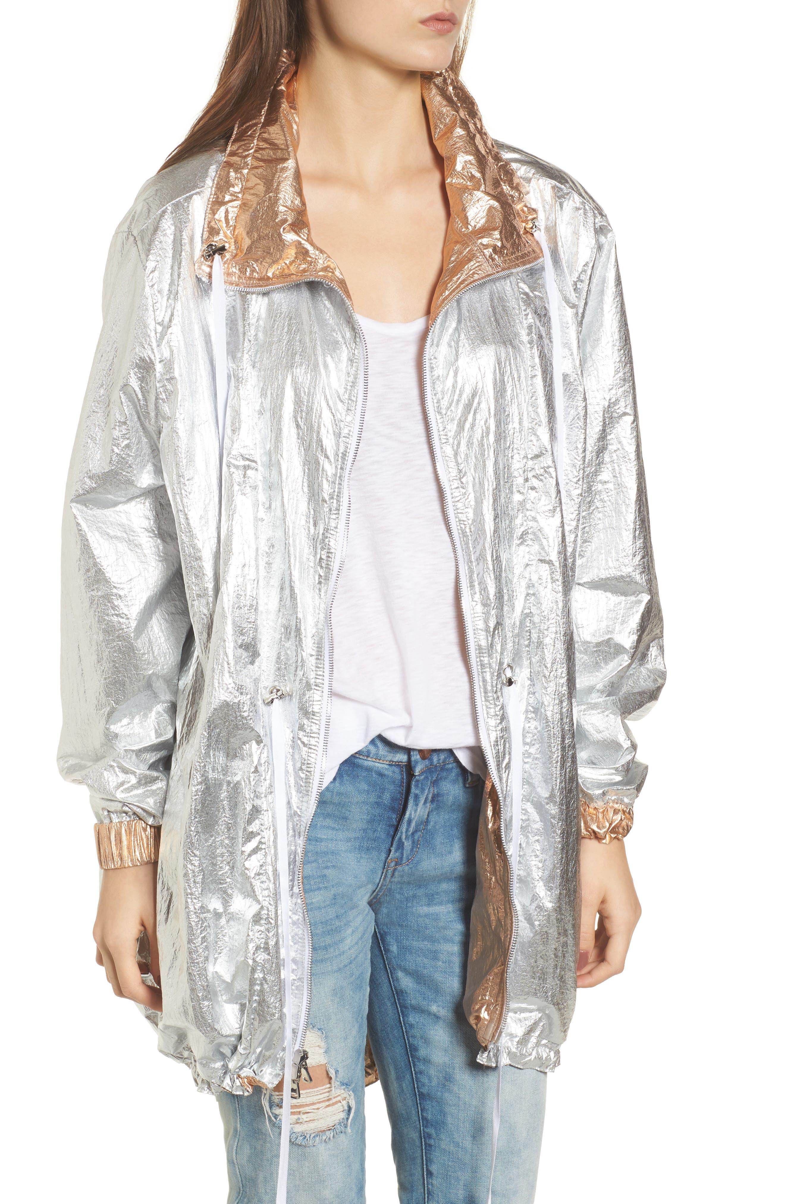 Reversible Metallic Long Jacket,                             Alternate thumbnail 2, color,                             Shine On Rose Gold