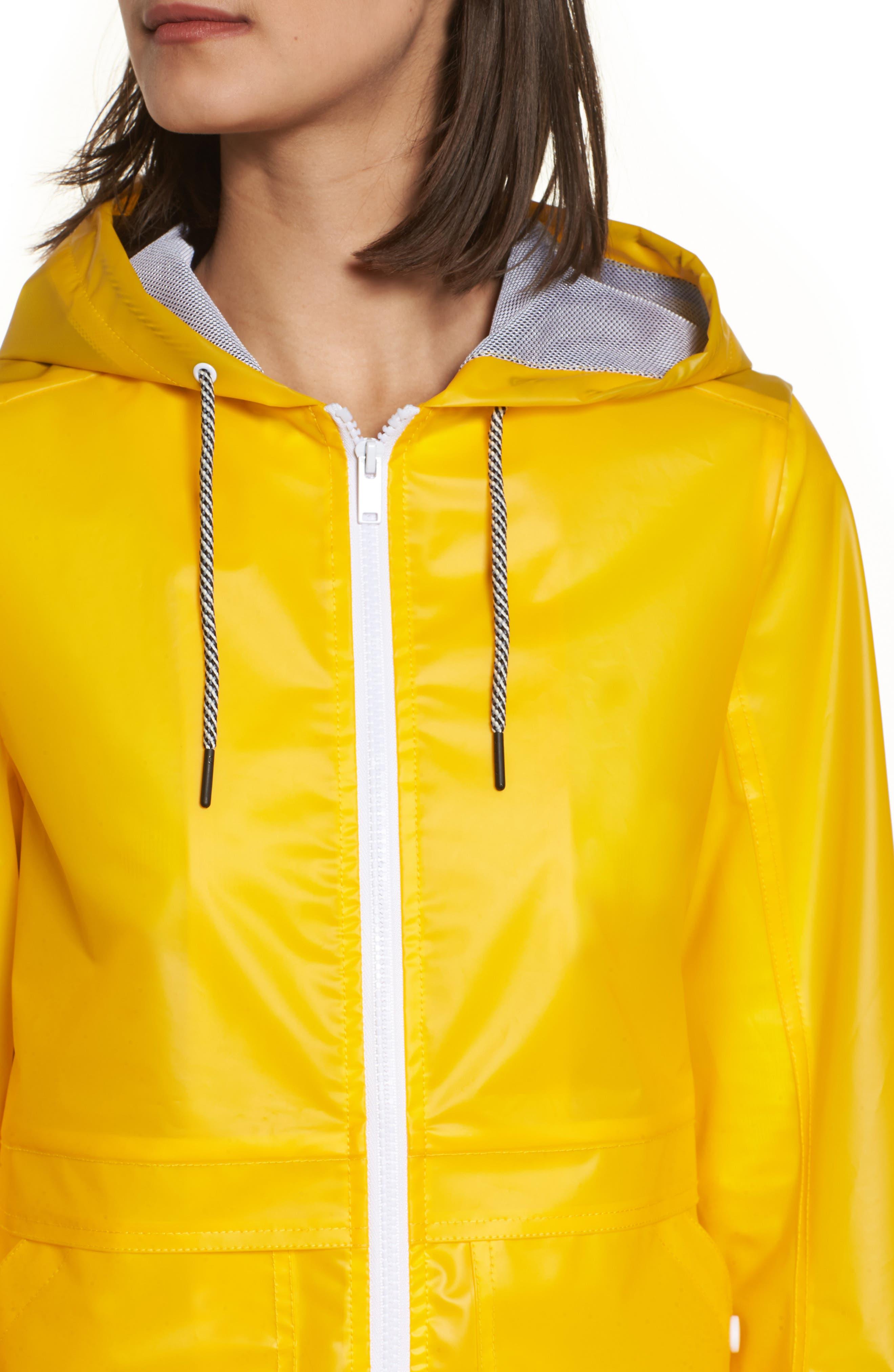 Water Resistant Raincoat,                             Alternate thumbnail 4, color,                             Banana