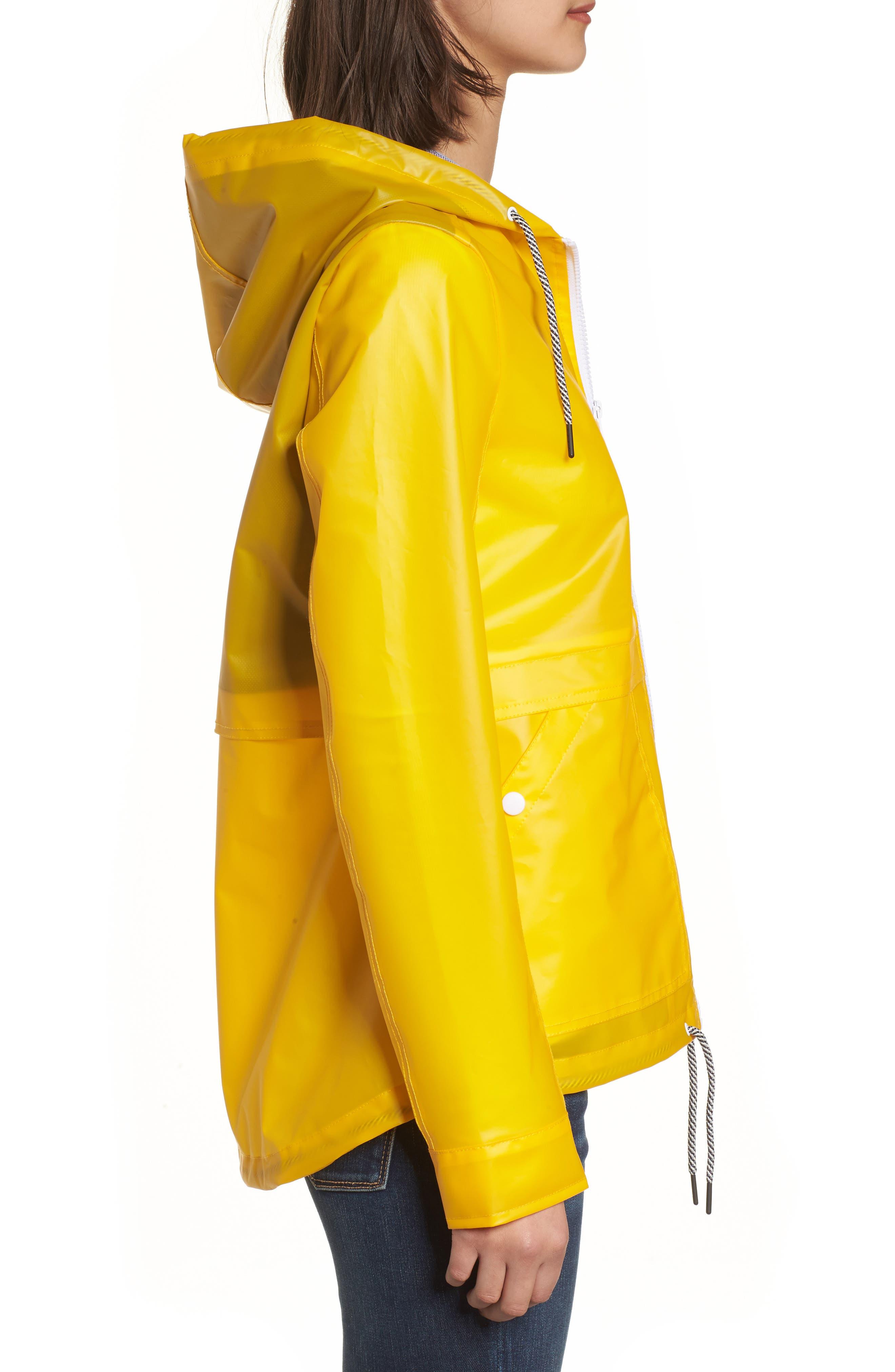 Water Resistant Raincoat,                             Alternate thumbnail 3, color,                             Banana