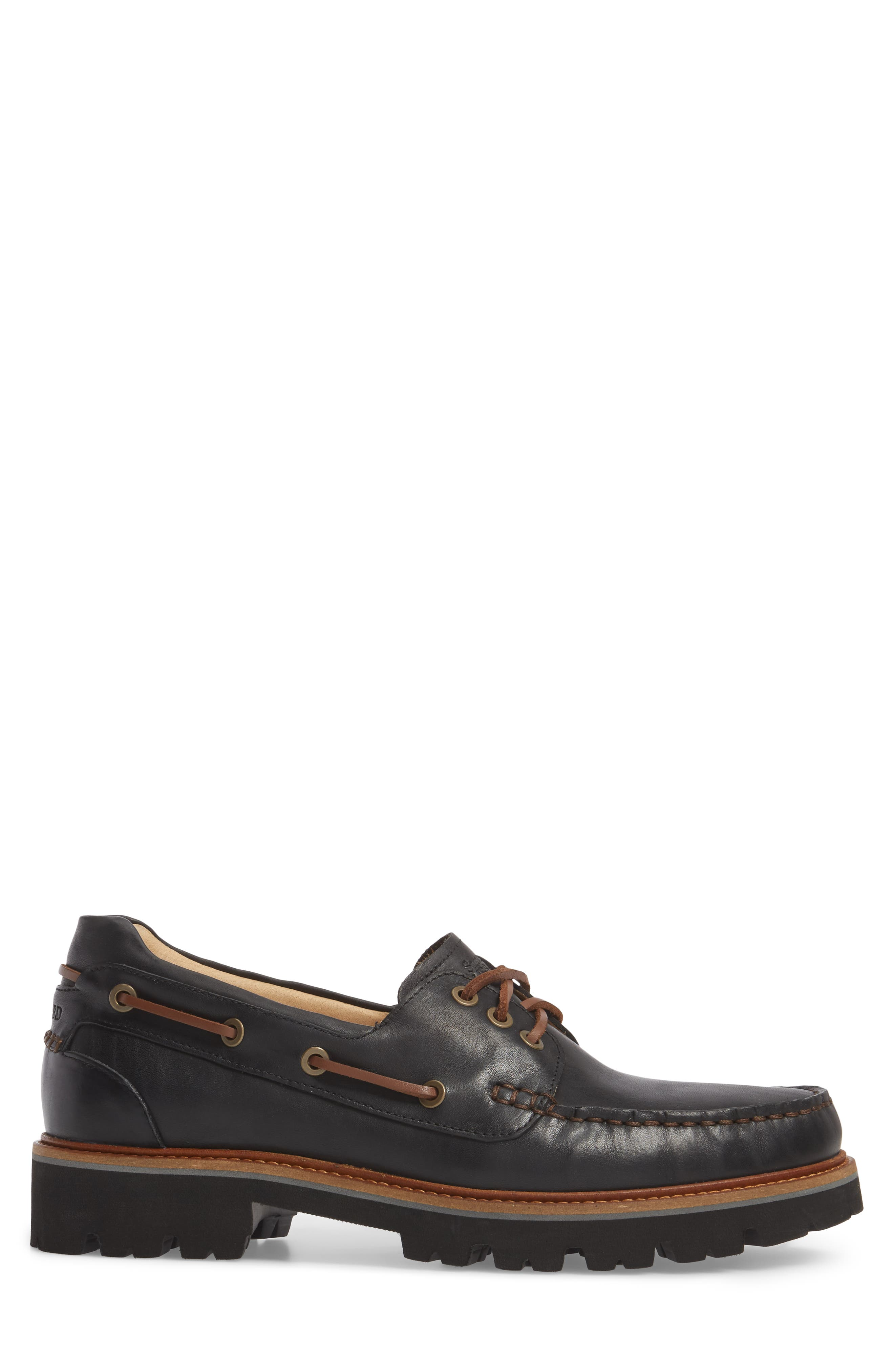 Camplight Water Resistant Boat Shoe,                             Alternate thumbnail 3, color,                             Saddlebag Black Leather
