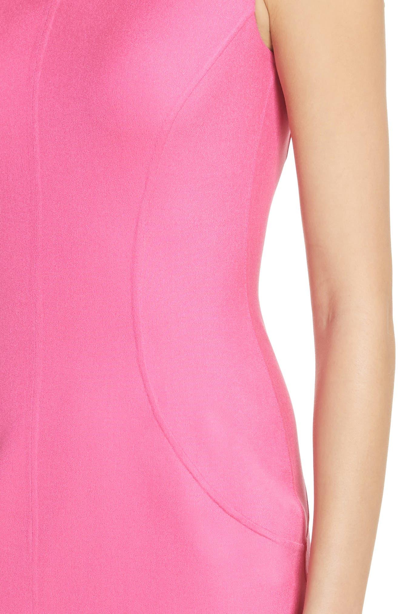 Silk Blend Sheath Dress,                             Alternate thumbnail 4, color,                             Carnation