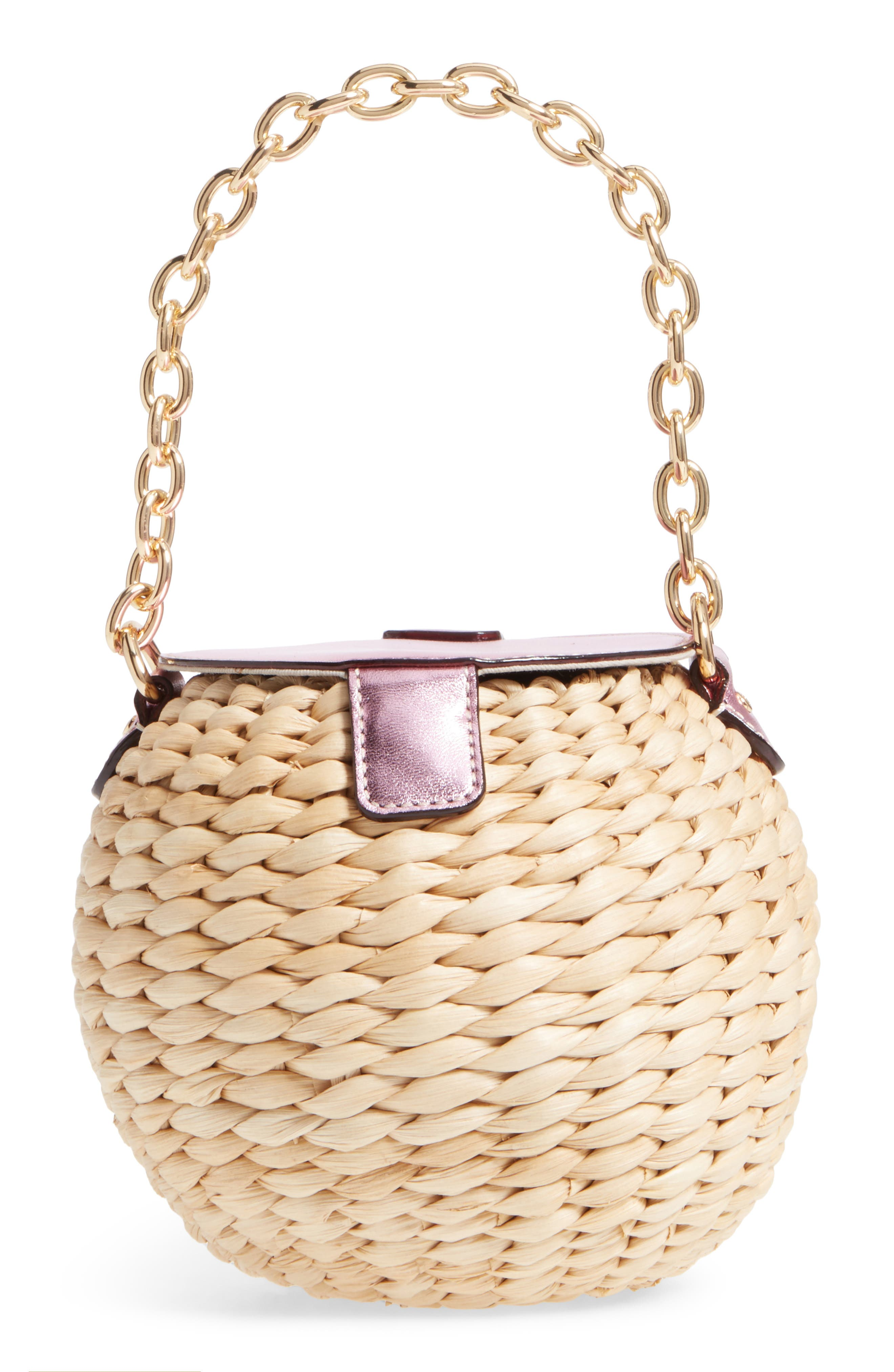 Mini Straw Bucket Bag,                             Alternate thumbnail 3, color,                             Pink
