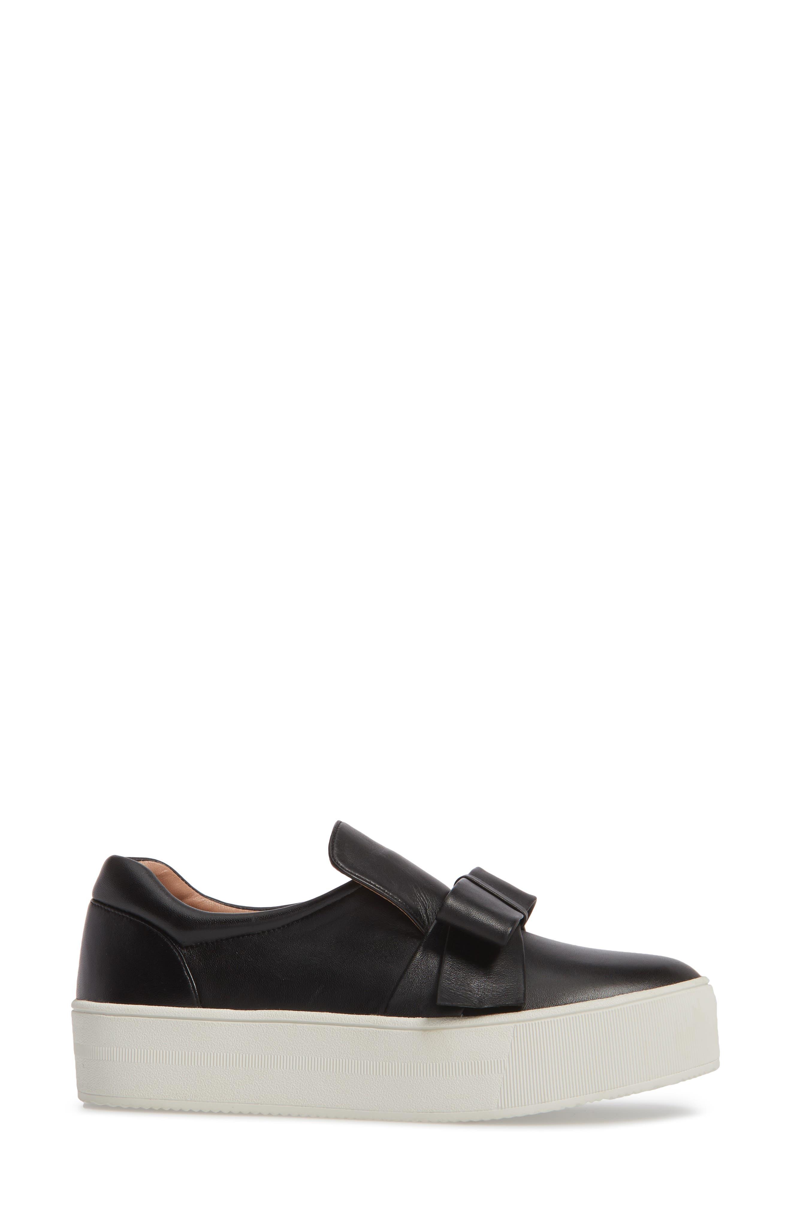 Vania Bow Platform Sneaker,                             Alternate thumbnail 3, color,                             Black Leather