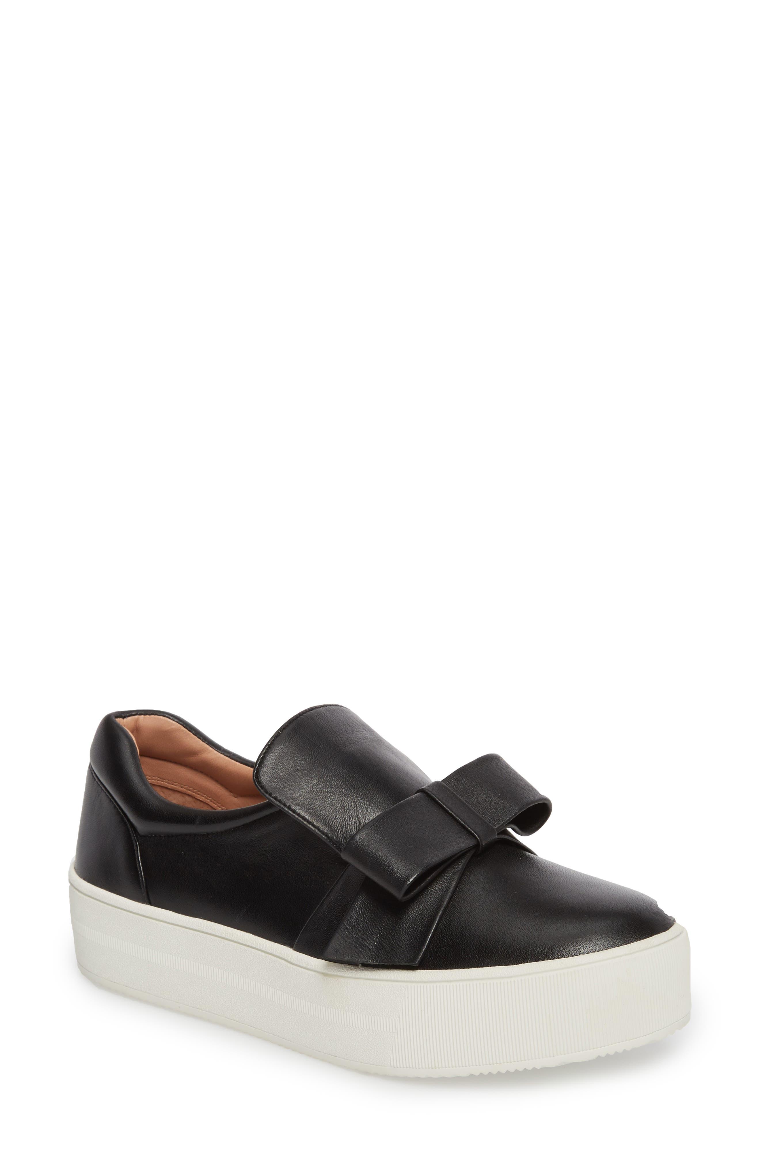 Vania Bow Platform Sneaker,                         Main,                         color, Black Leather