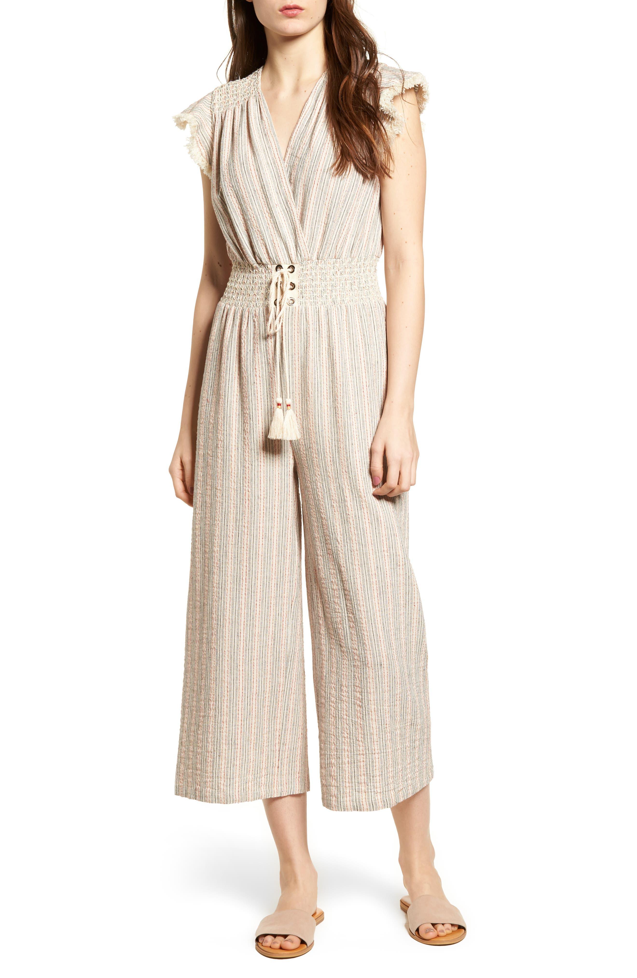 Stripe Lace-Up Jumpsuit,                         Main,                         color, Grey Stripe