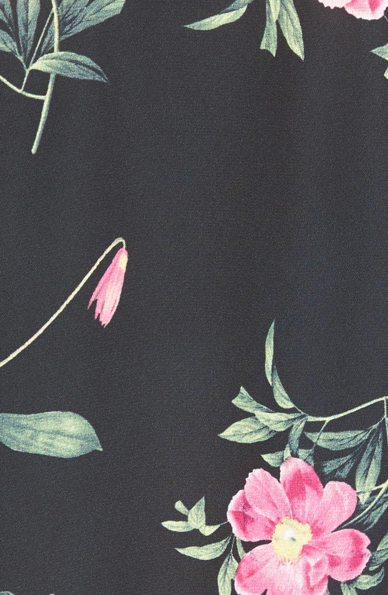Tie Front Shirt,                             Alternate thumbnail 5, color,                             Black Floral