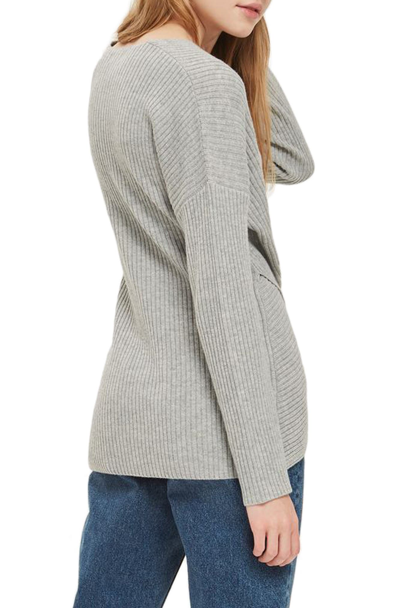 Wrap Front Sweater,                             Alternate thumbnail 3, color,                             Grey