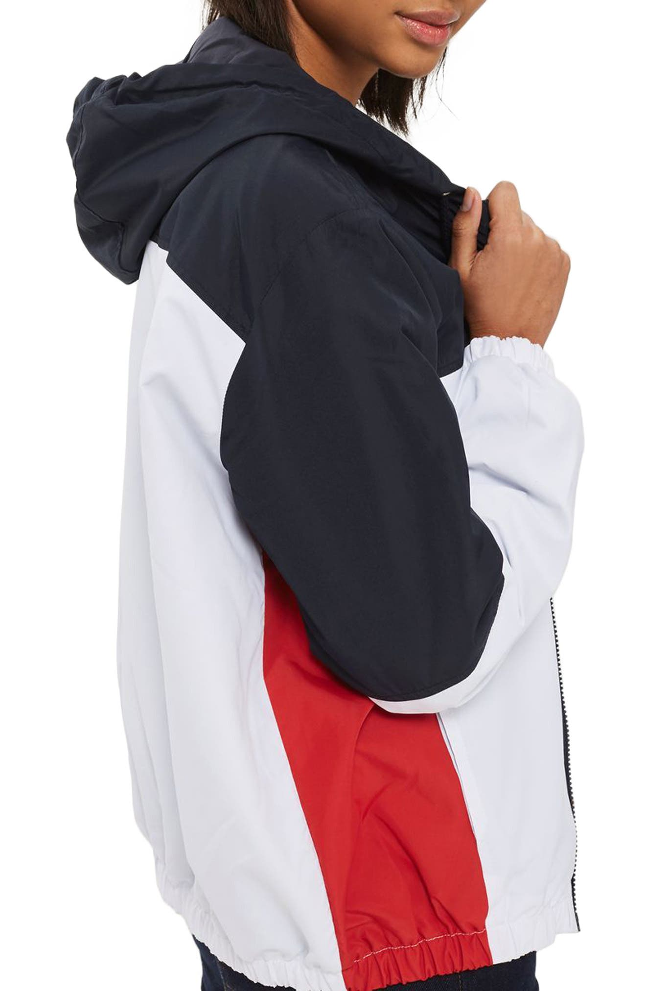 Colorblock Windbreaker Jacket,                             Alternate thumbnail 3, color,                             White Multi
