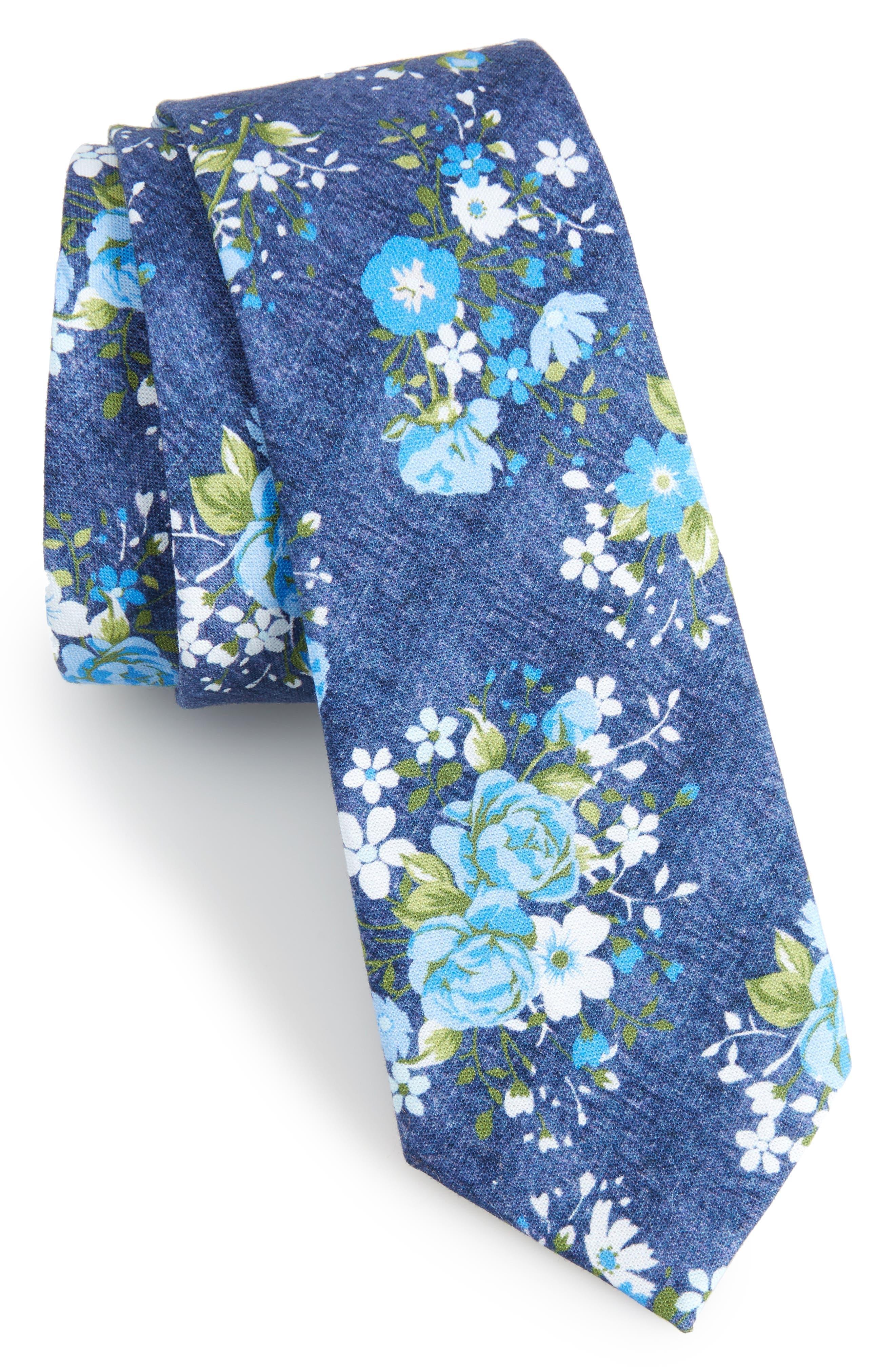 Morgan Floral Cotton Skinny Tie,                         Main,                         color, Blue