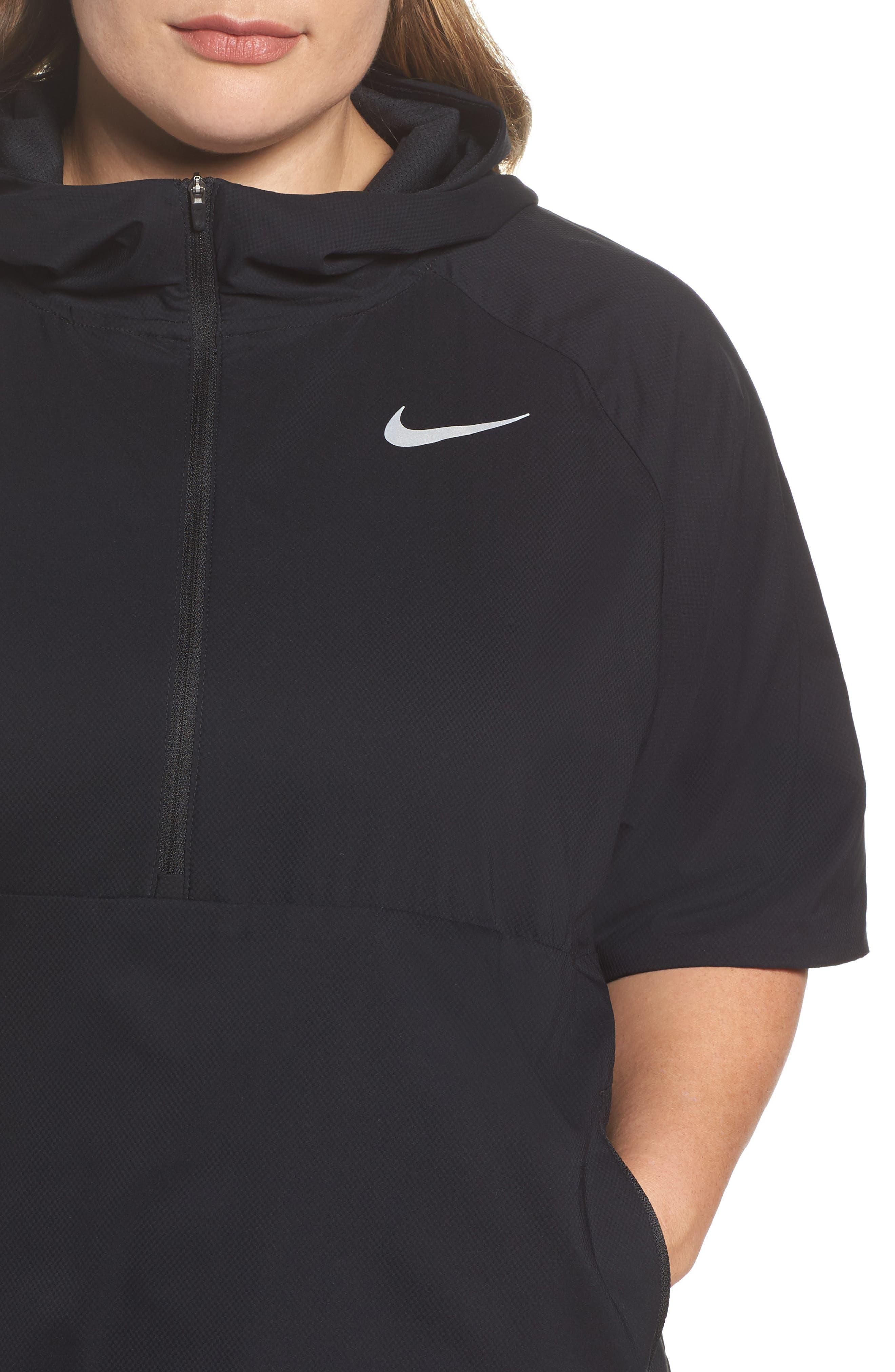 Flex Hooded Running Jacket,                             Alternate thumbnail 4, color,                             Black