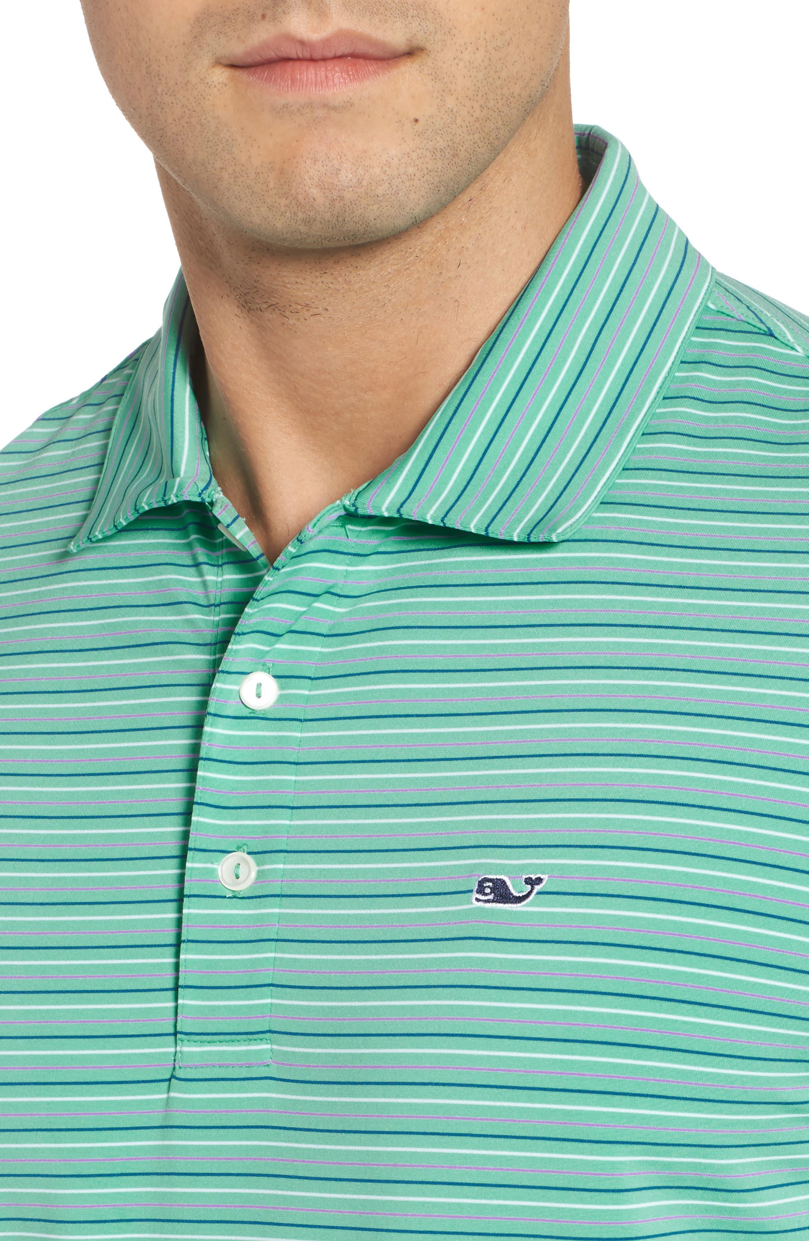 Multicolor Stripe Polo,                             Alternate thumbnail 4, color,                             Antigua Green