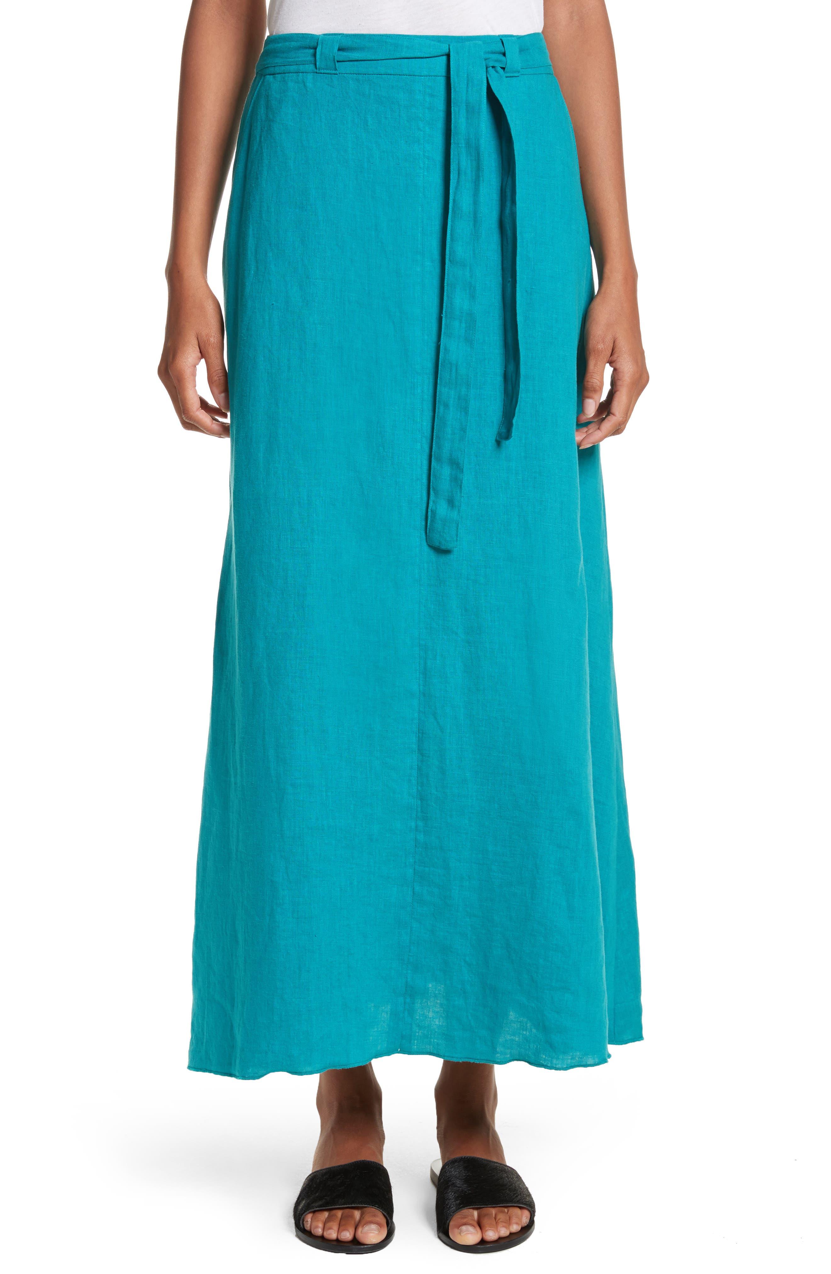 Delta Tie Waist Linen Skirt,                             Main thumbnail 1, color,                             Peacock