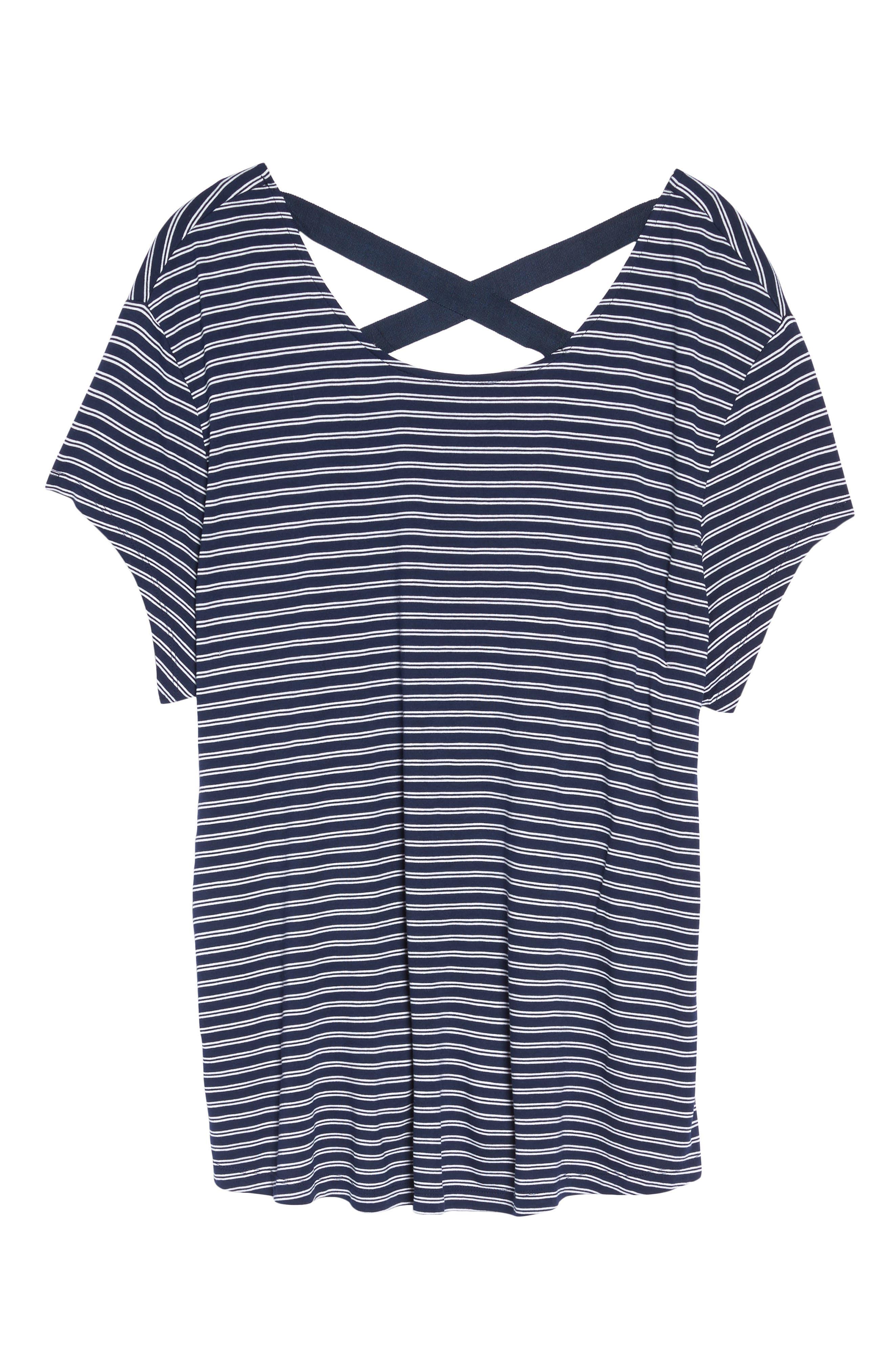 Stripe Cross Back Tee,                             Alternate thumbnail 6, color,                             Navy- White Cori Stripe