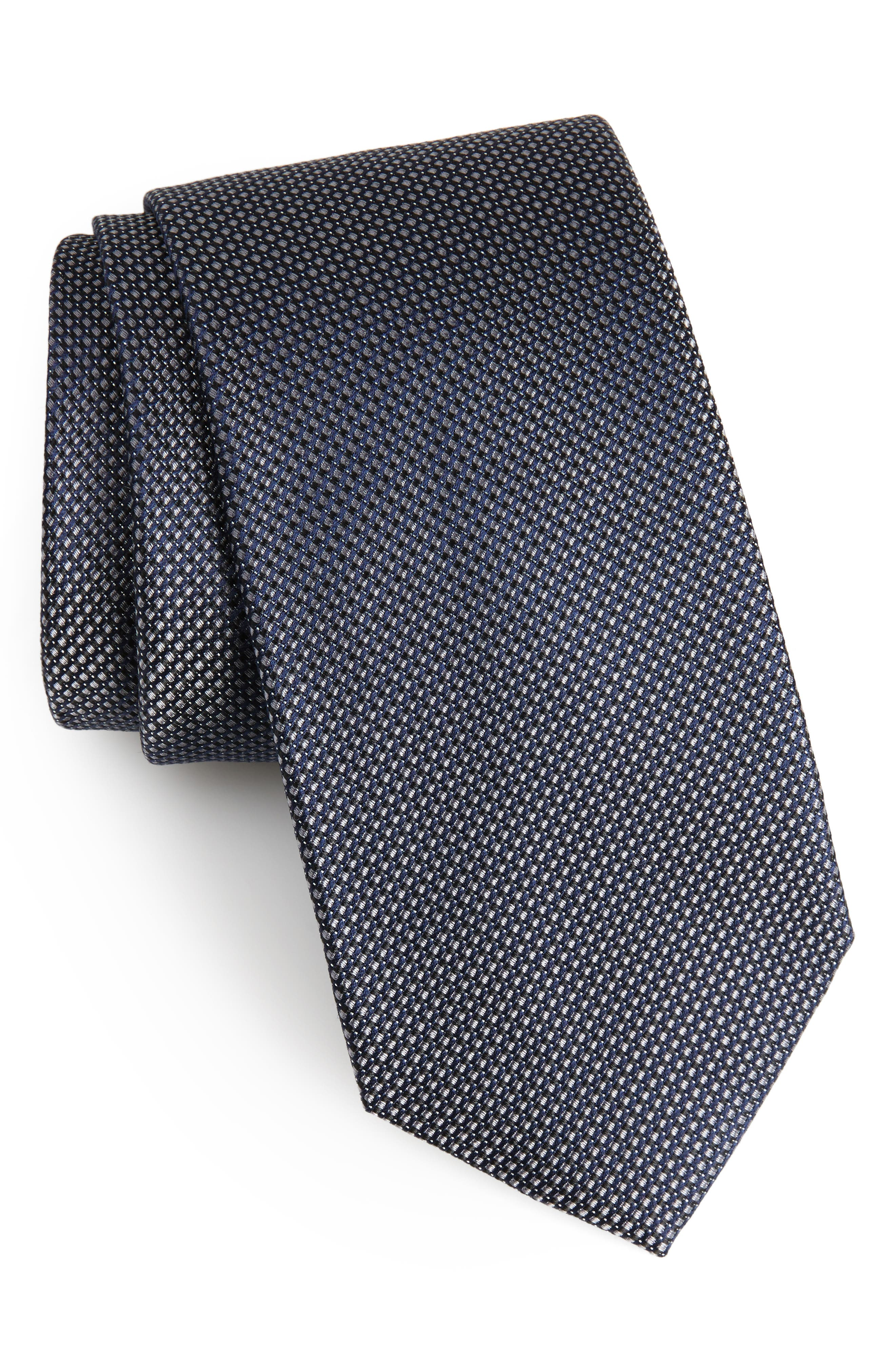 Amsberry Microcheck Silk Tie,                             Main thumbnail 1, color,                             Black