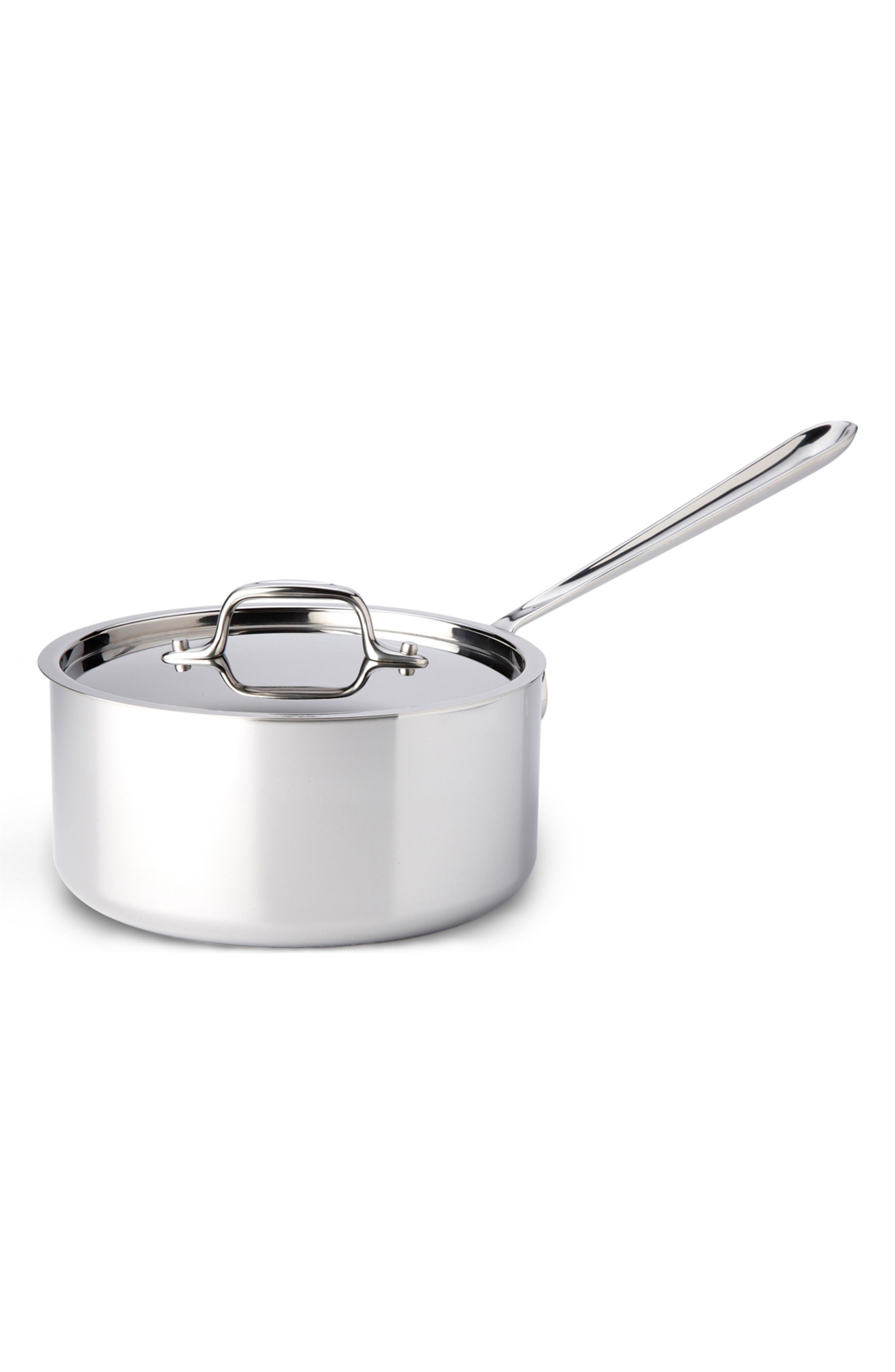 3-Quart Brushed Stainless Steel Sauce Pan,                             Main thumbnail 1, color,                             Stainless