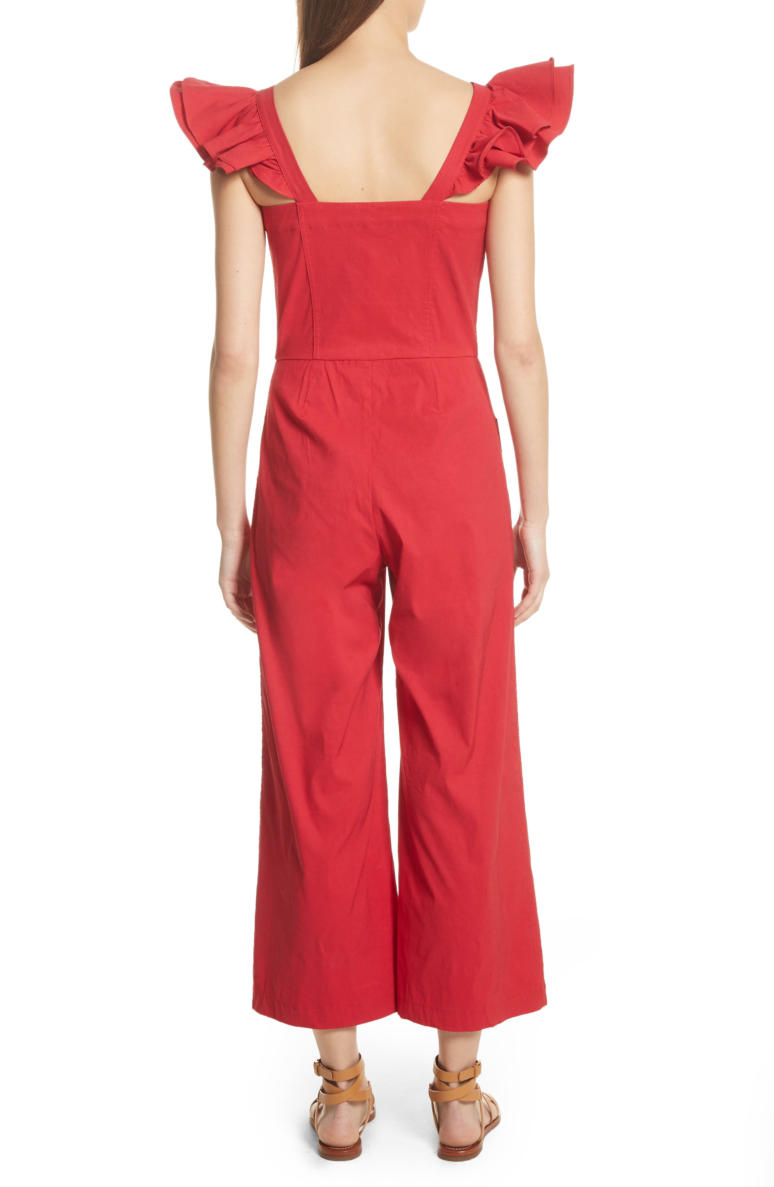 Callie Ruffle Strap Jumpsuit,                             Alternate thumbnail 2, color,                             Red