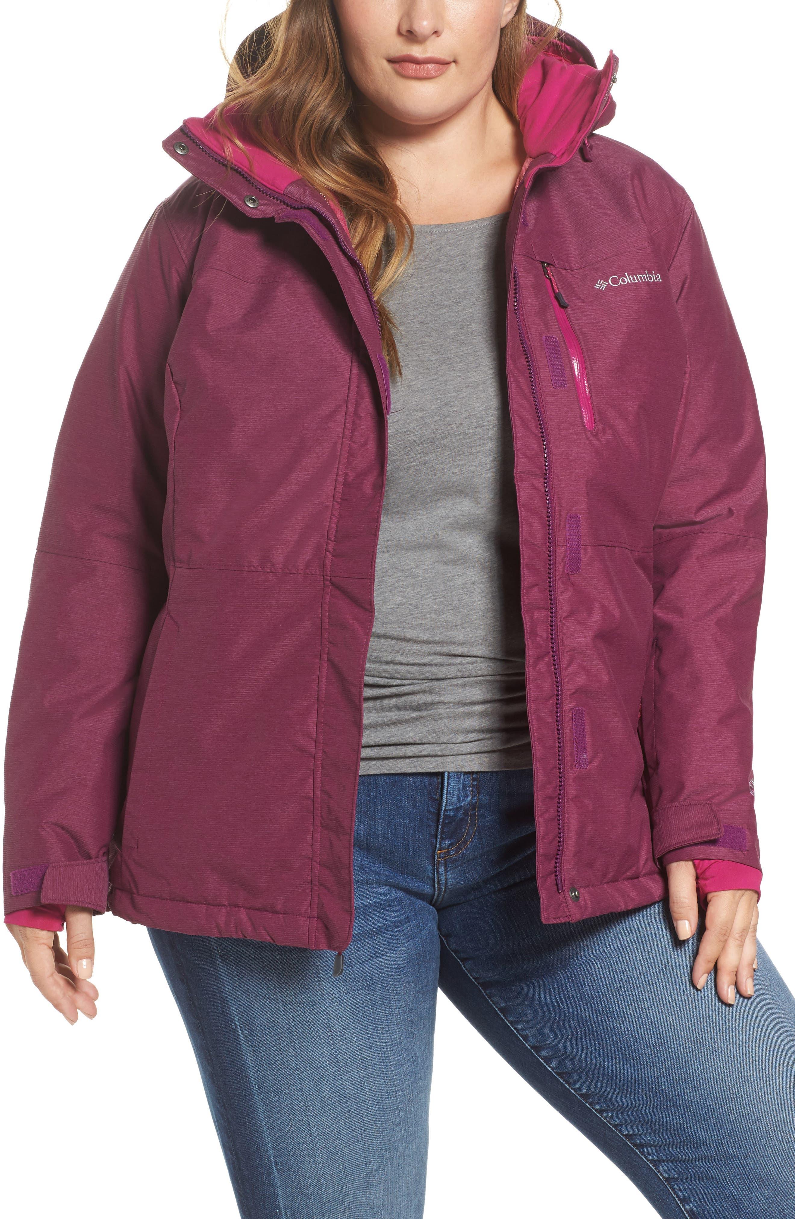 Alpine Action Waterproof Omni-Heat<sup>®</sup> Hooded Jacket,                         Main,                         color, Dark Raspberry