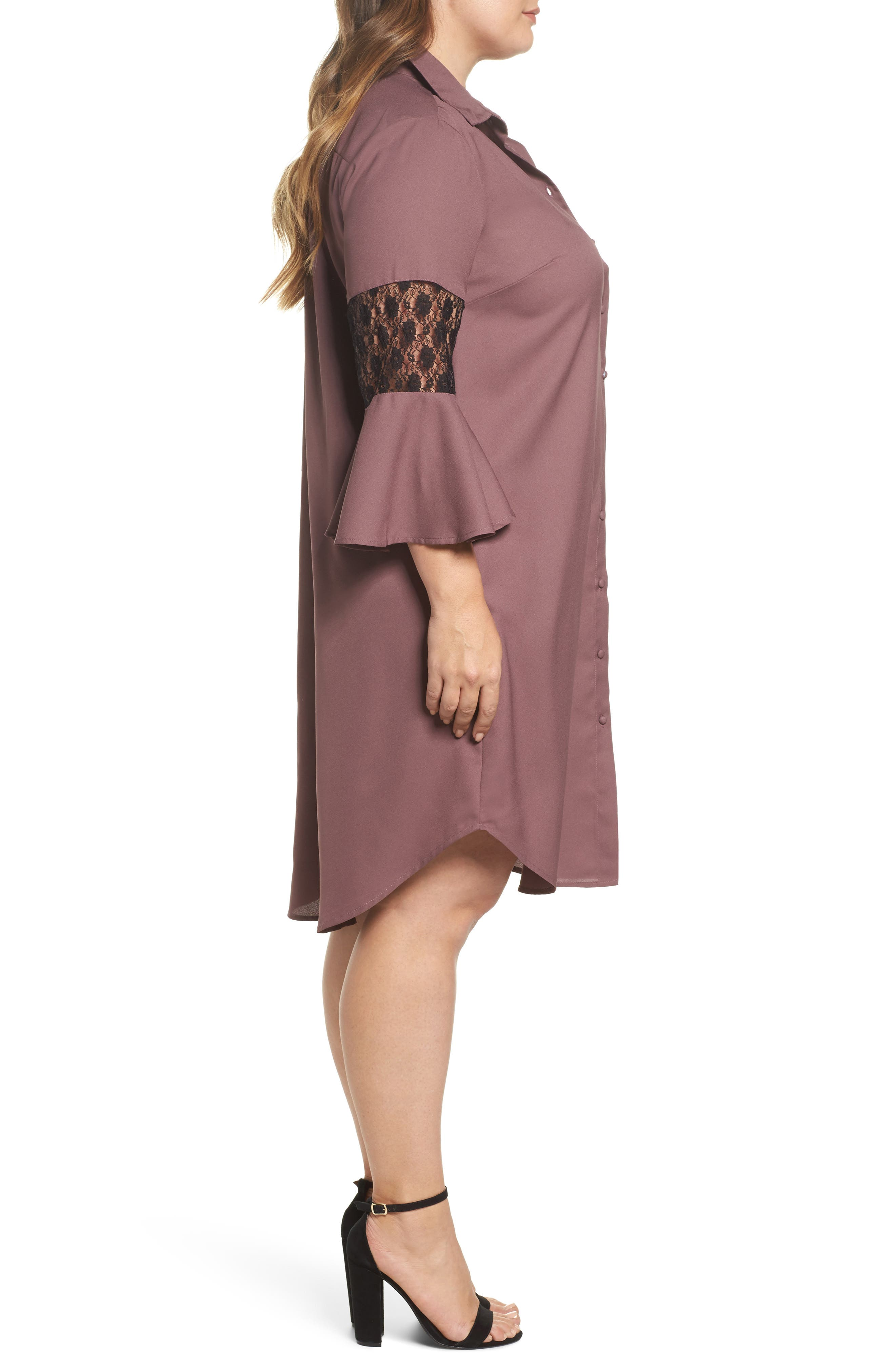 Alternate Image 3  - LOST INK Lace Inset Shirtdress (Plus Size)