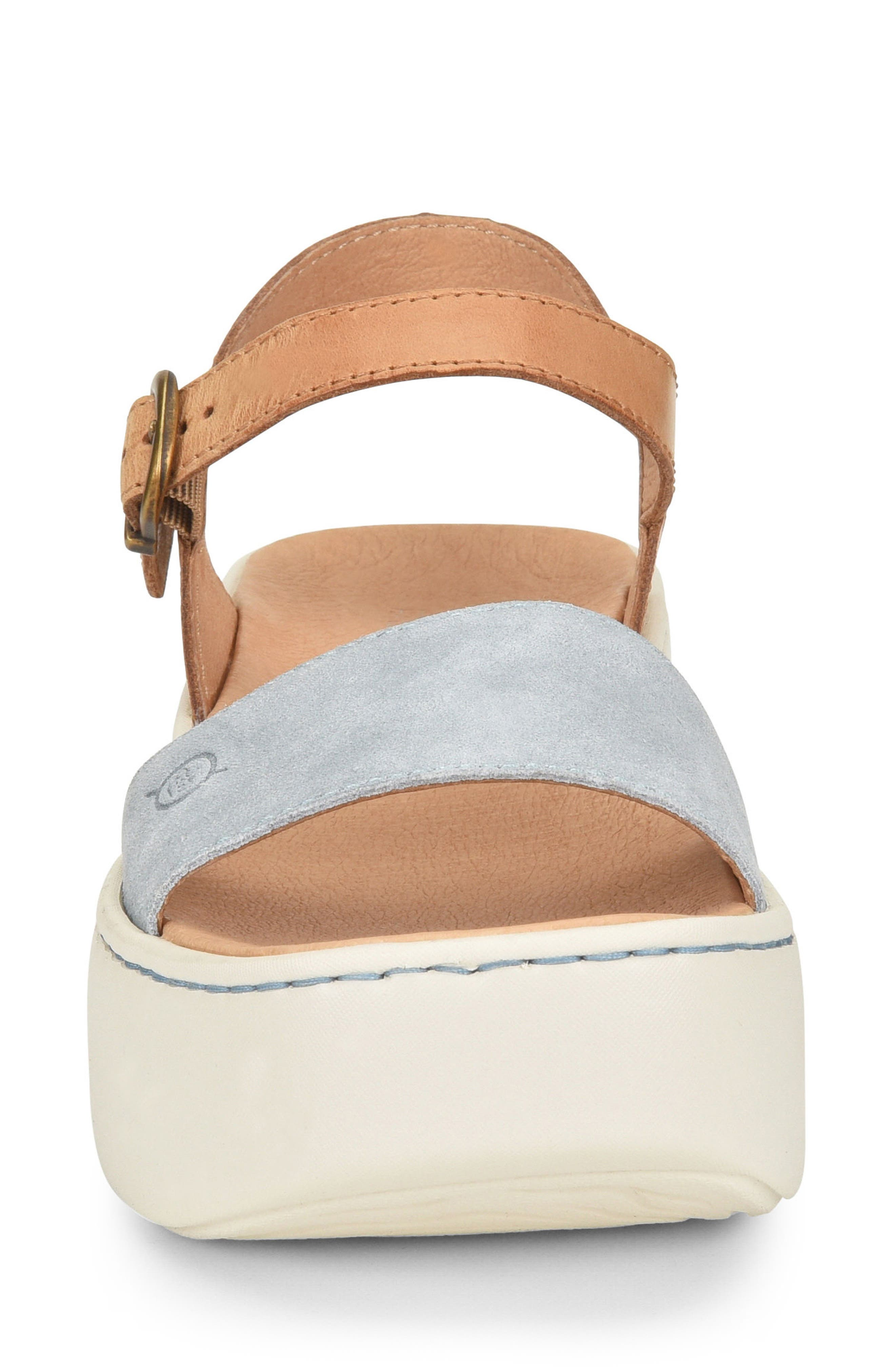 Breaker Platform Sandal,                             Alternate thumbnail 4, color,                             Light Blue/ Tan Leather