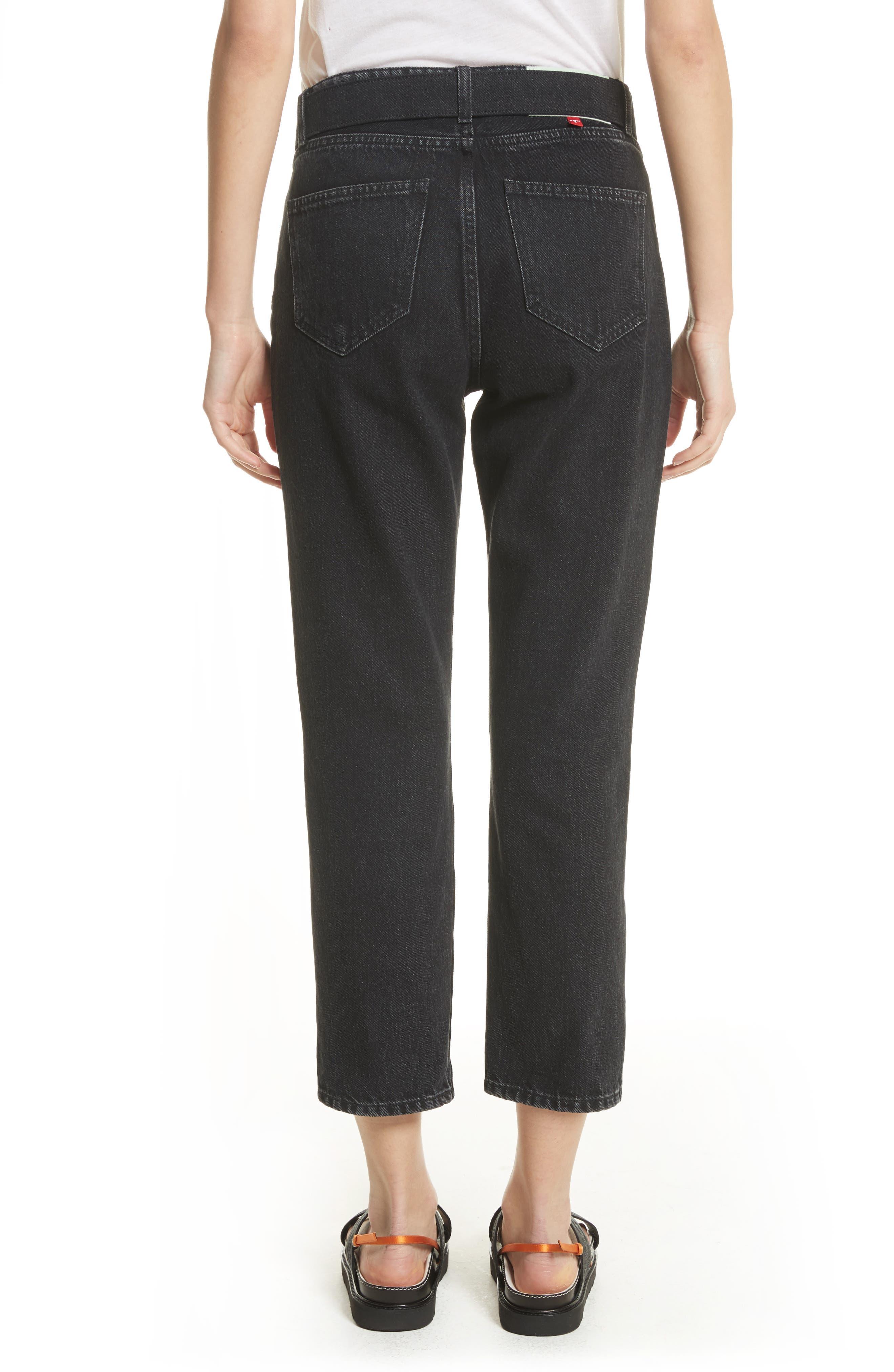 Belted Jeans,                             Alternate thumbnail 2, color,                             Black Vintage Bla