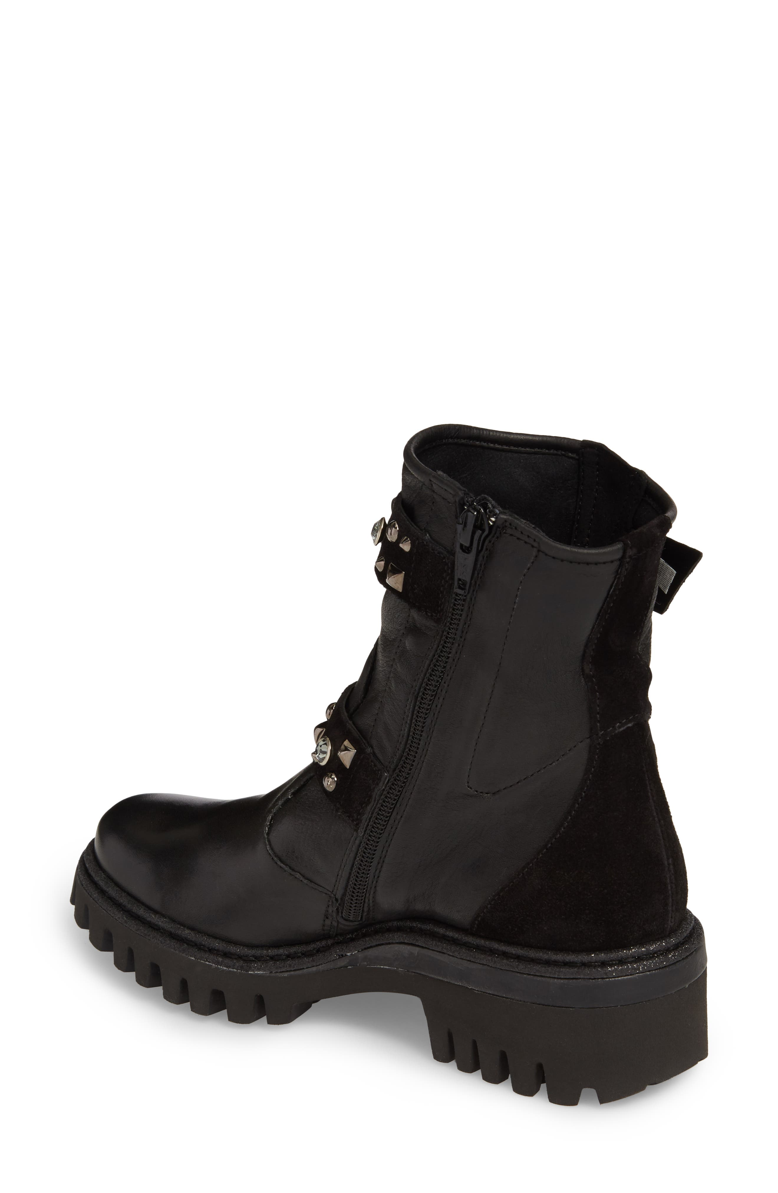 Rivet Moto Boot,                             Alternate thumbnail 2, color,                             Black Leather
