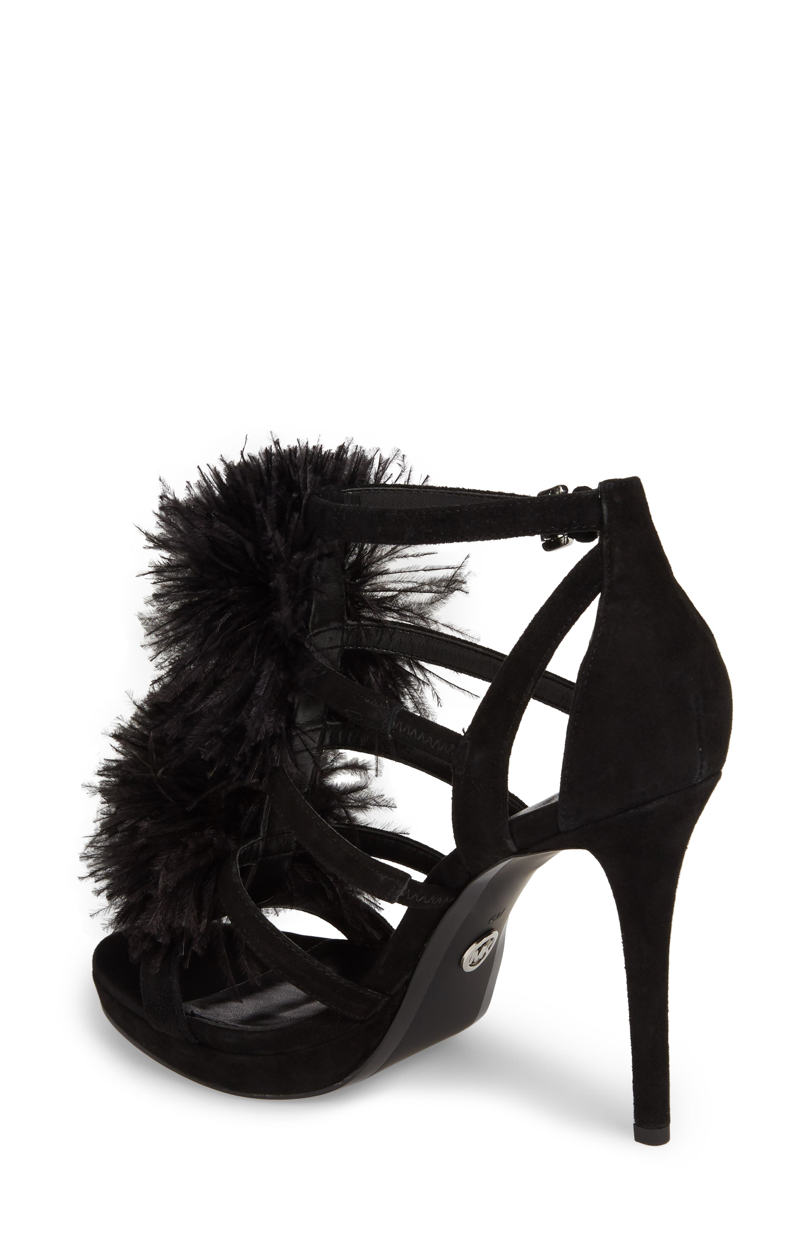 Fara Feather Pom Sandal,                             Alternate thumbnail 2, color,                             Black Suede