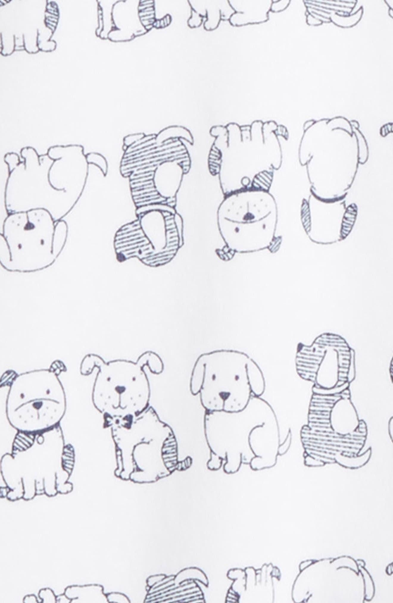 Puppies Footie & Beanie Set,                             Alternate thumbnail 2, color,                             White/ Navy