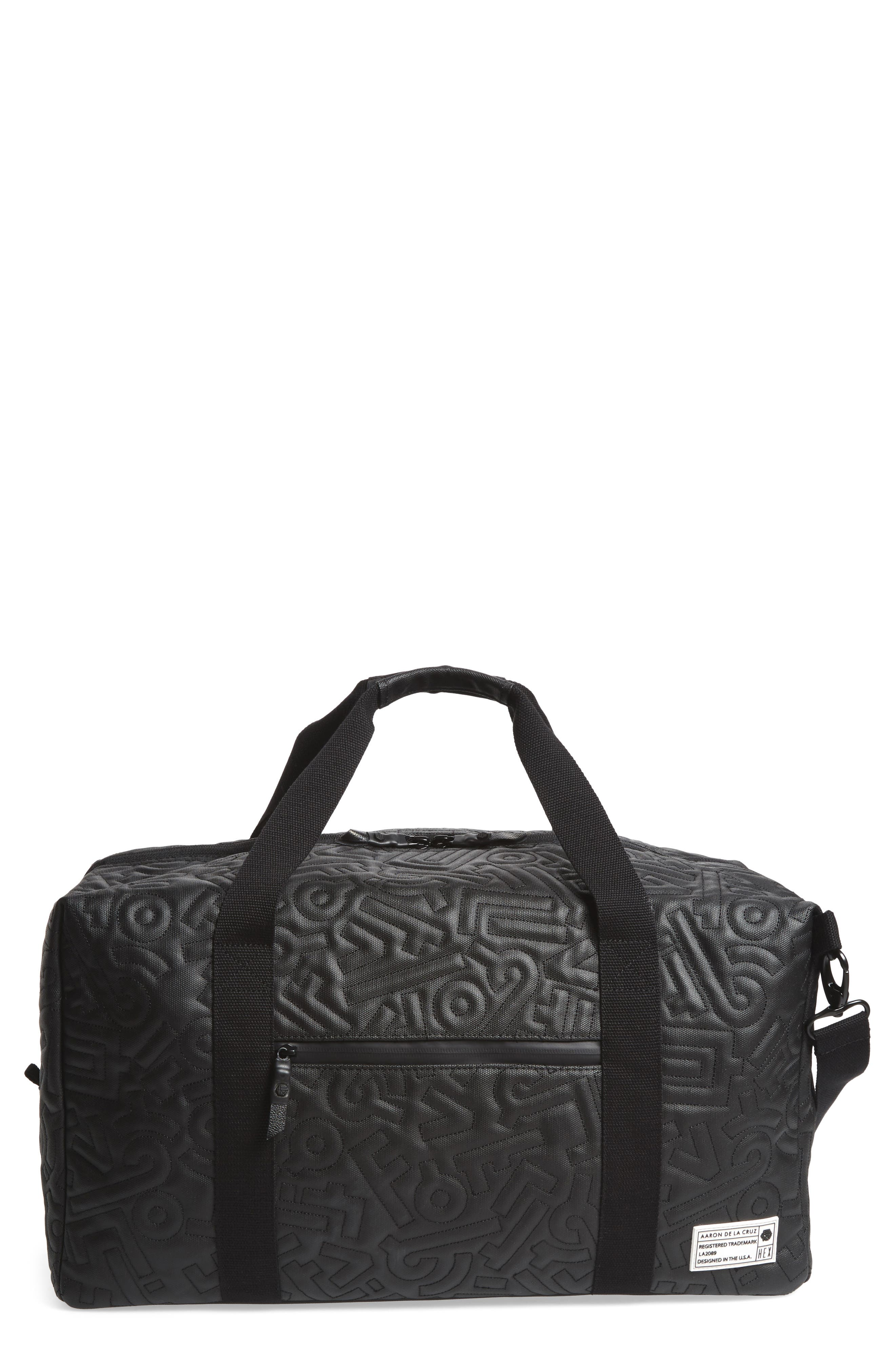 x Aaron De La Cruz Drifter Duffel Bag,                         Main,                         color, Black Quilt
